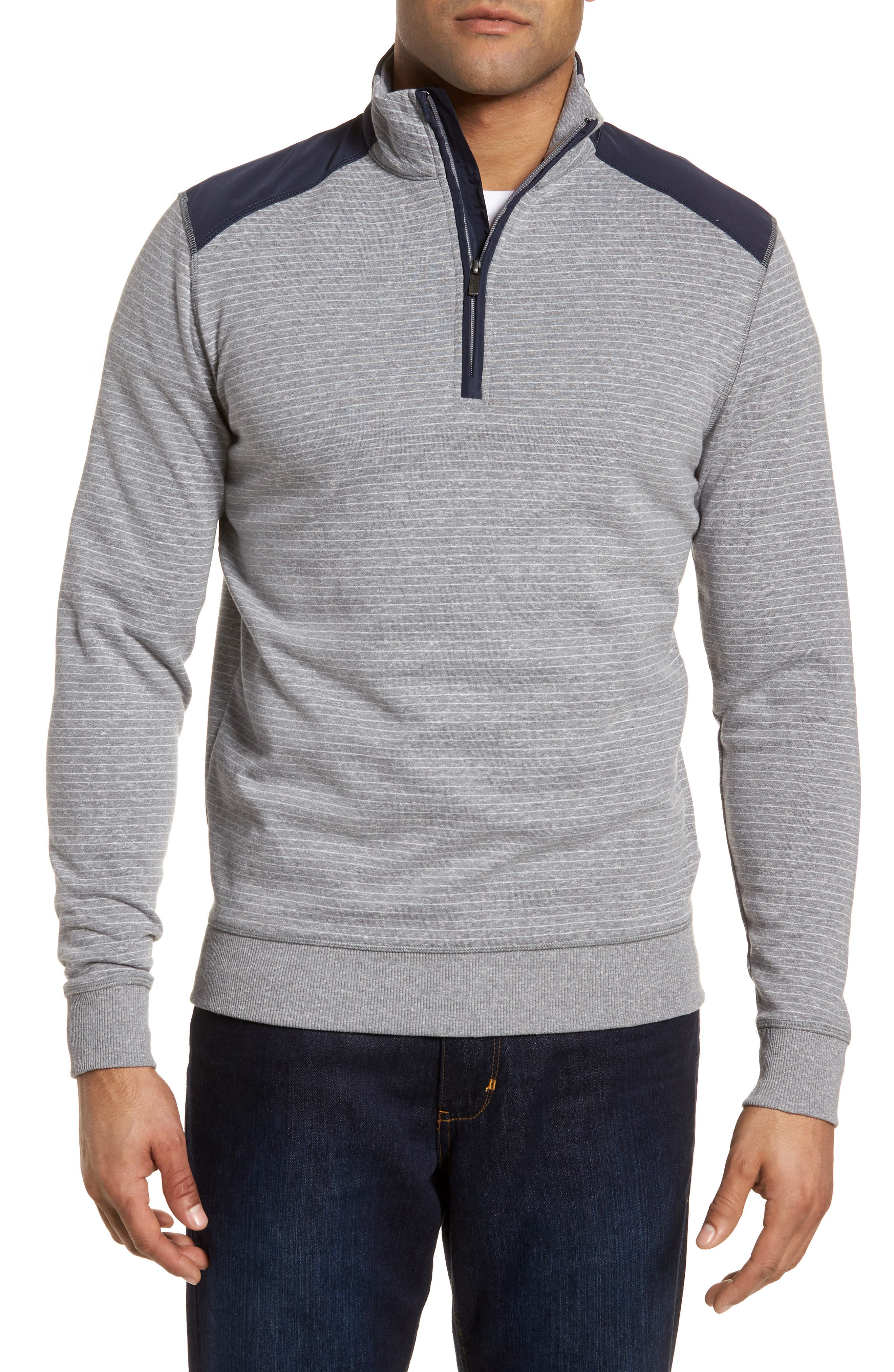 Regular Fit Stripe Quarter Zip Pullover,                             Main thumbnail 1, color,