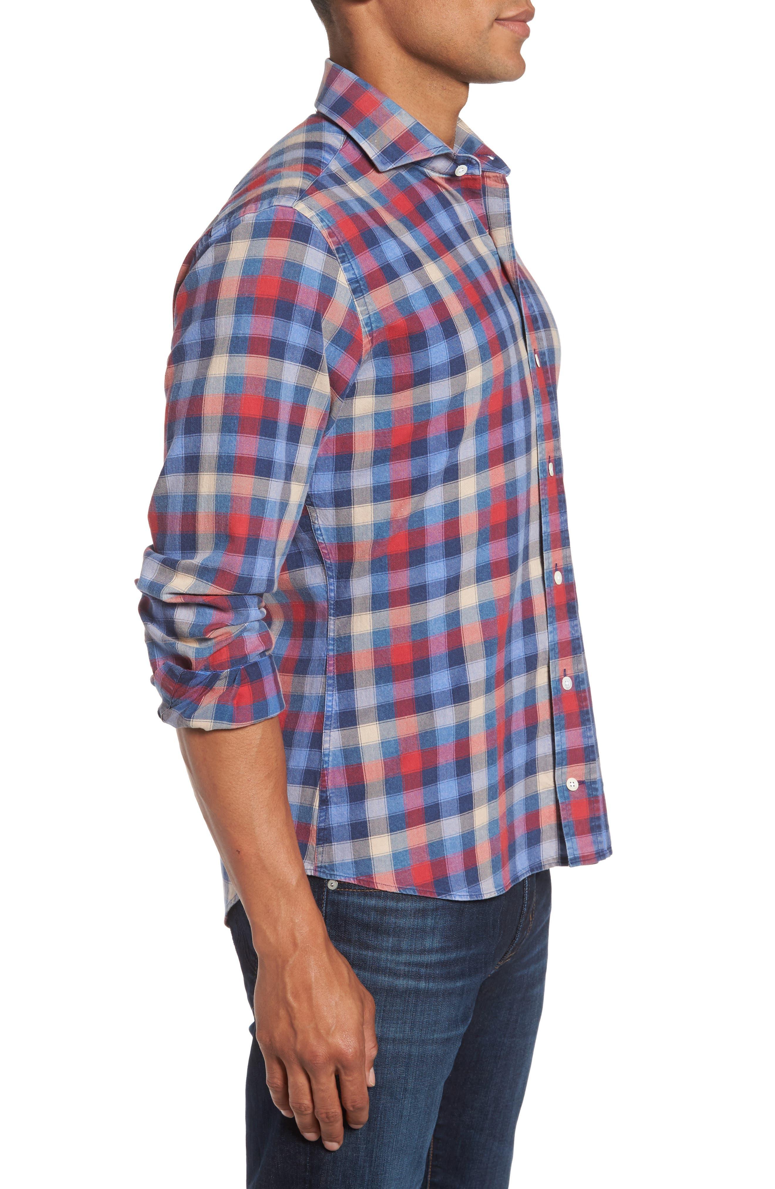 Alden Slim Fit Check Sport Shirt,                             Alternate thumbnail 3, color,                             652