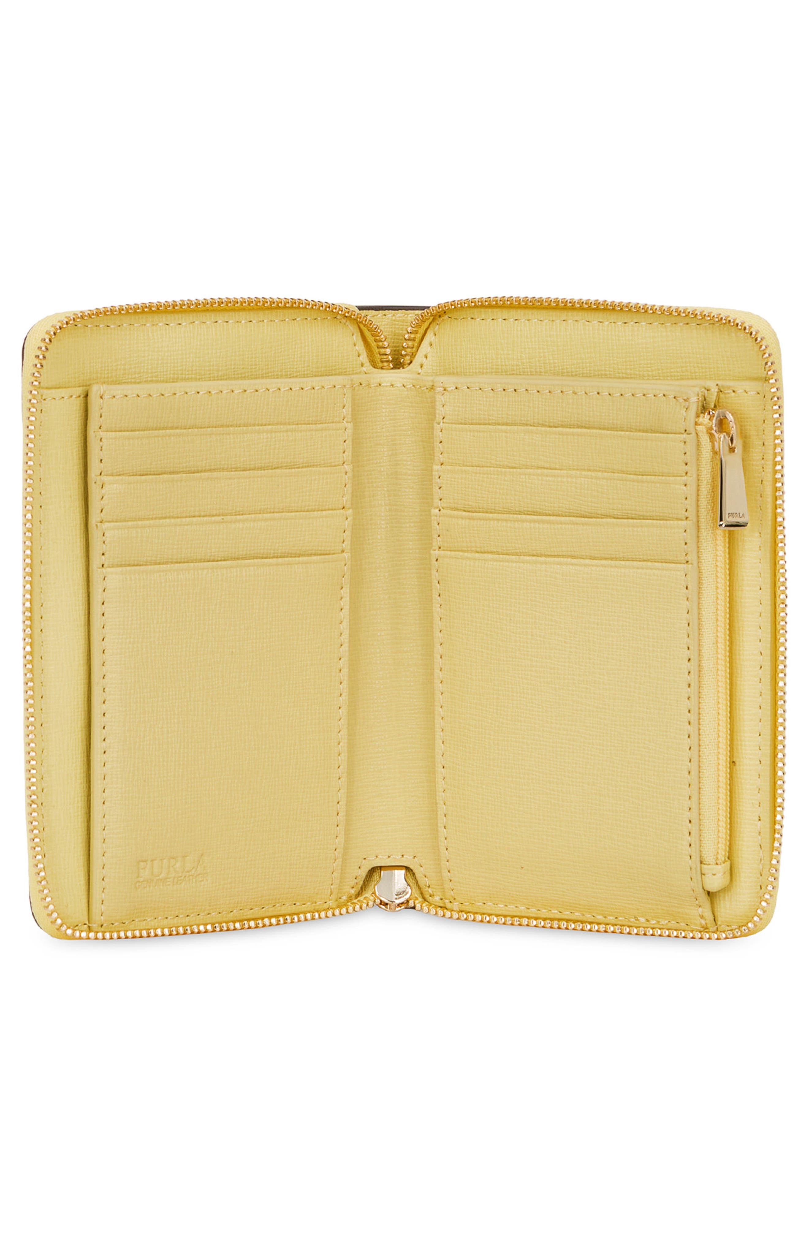 Medium Babylon Saffiano Leather Zip Around Wallet,                             Alternate thumbnail 6, color,