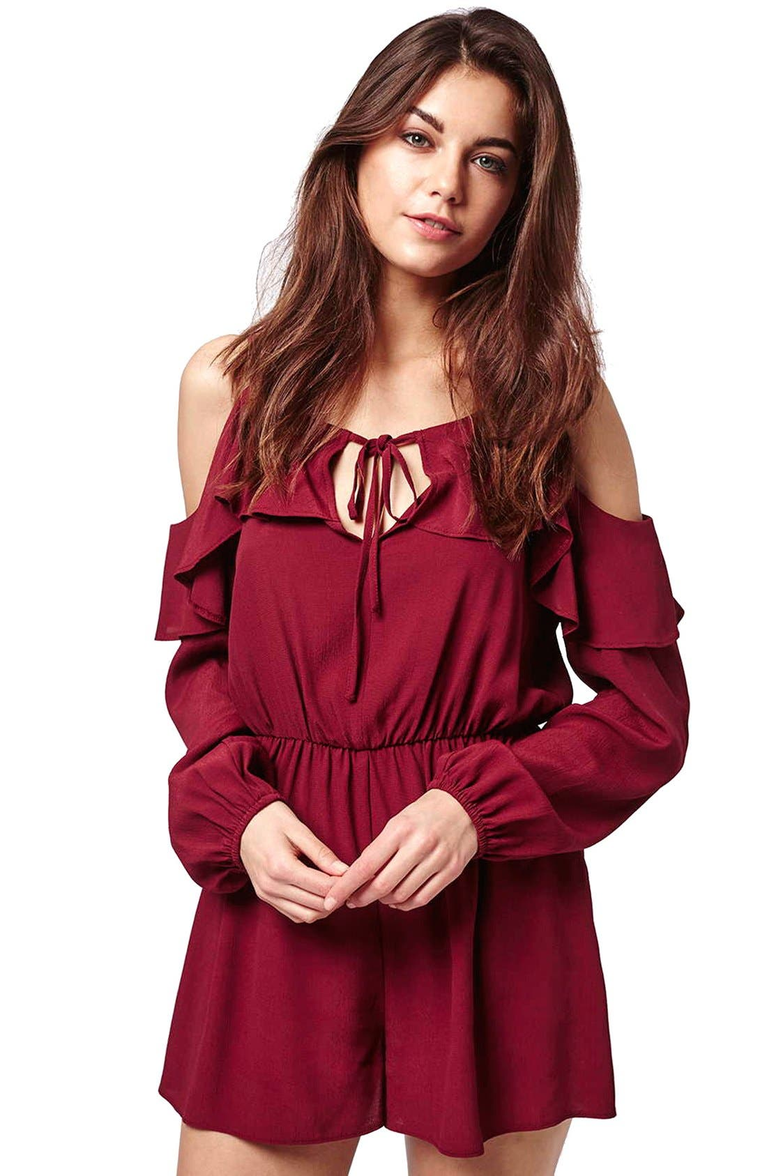 Ruffled Cold Shoulder Romper,                             Alternate thumbnail 6, color,