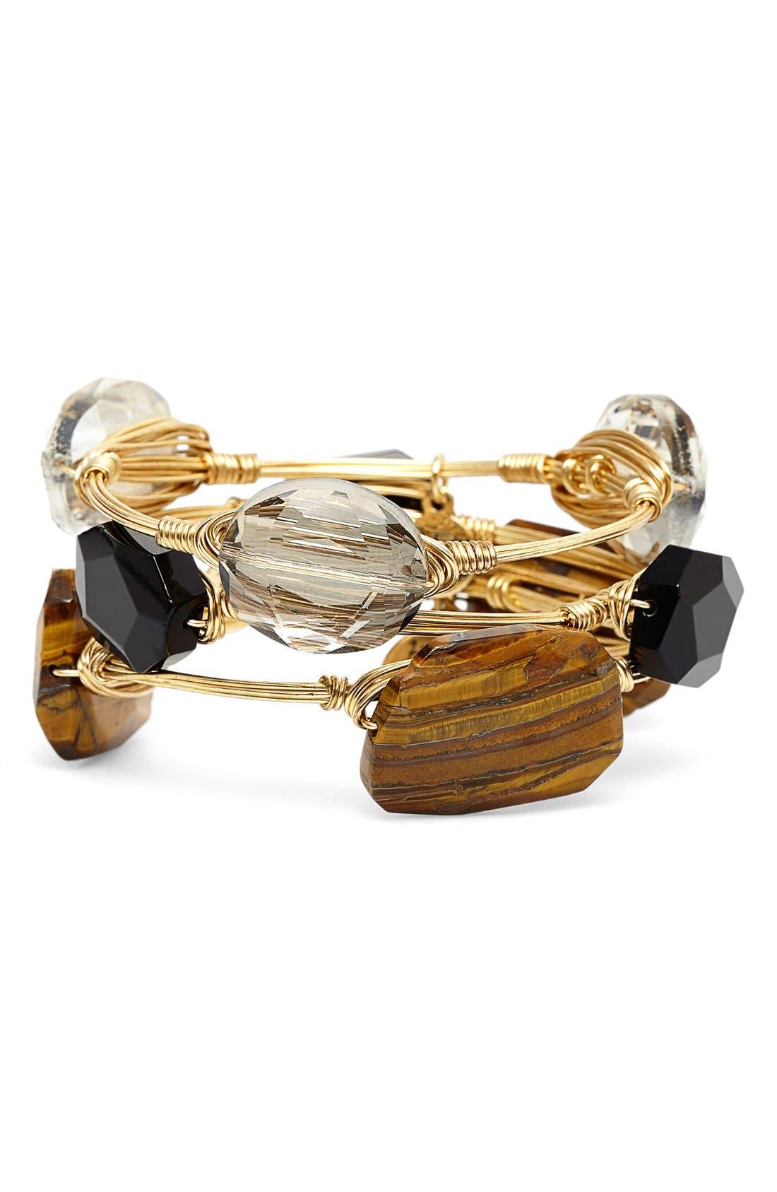 'Tiger's Eye Agate & Jet Acrylic Crystal' Stone Bracelets, Main, color, 200