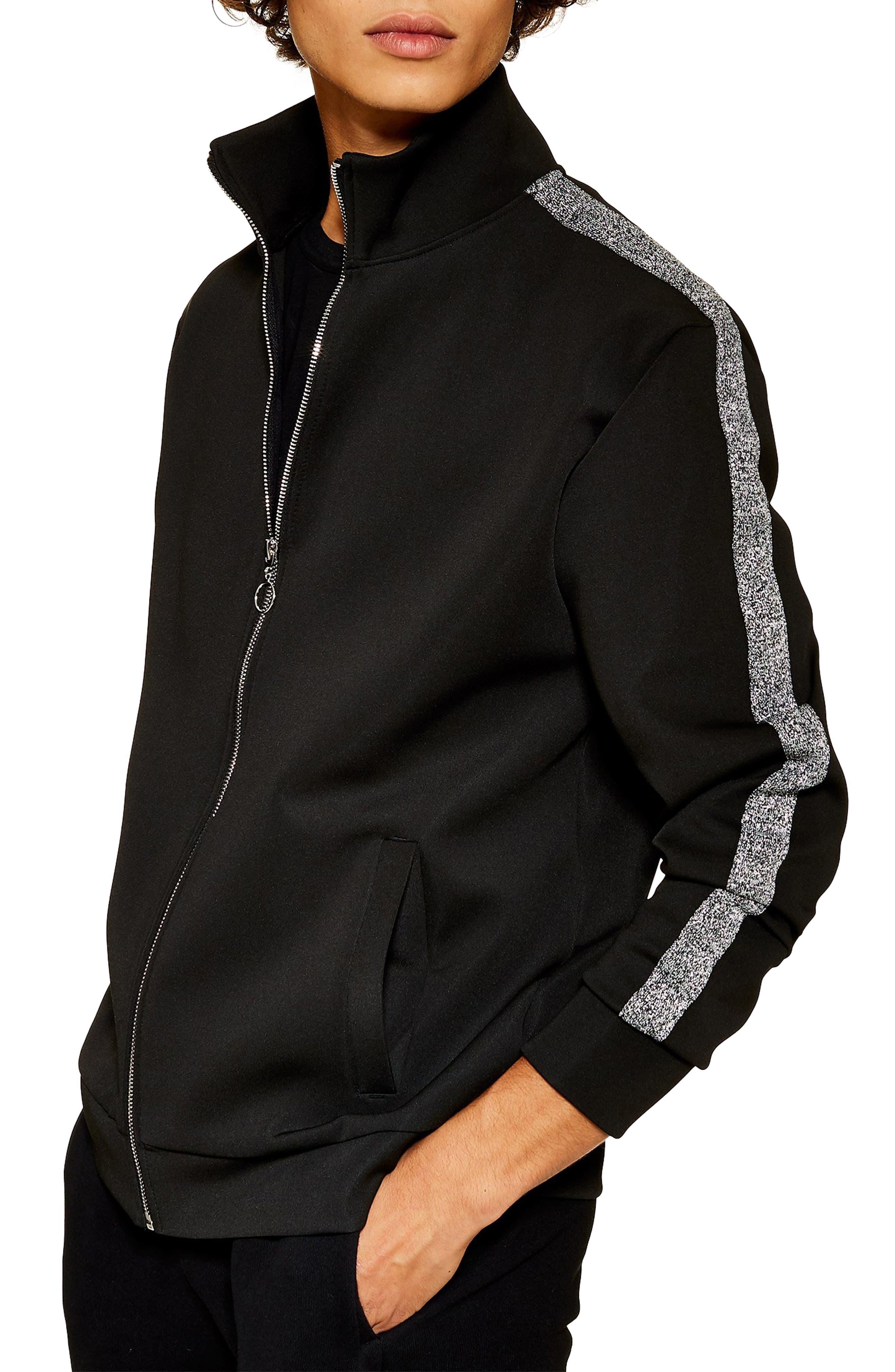 TOPMAN Classic Fit Metallic Stripe Track Jacket in Black Multi