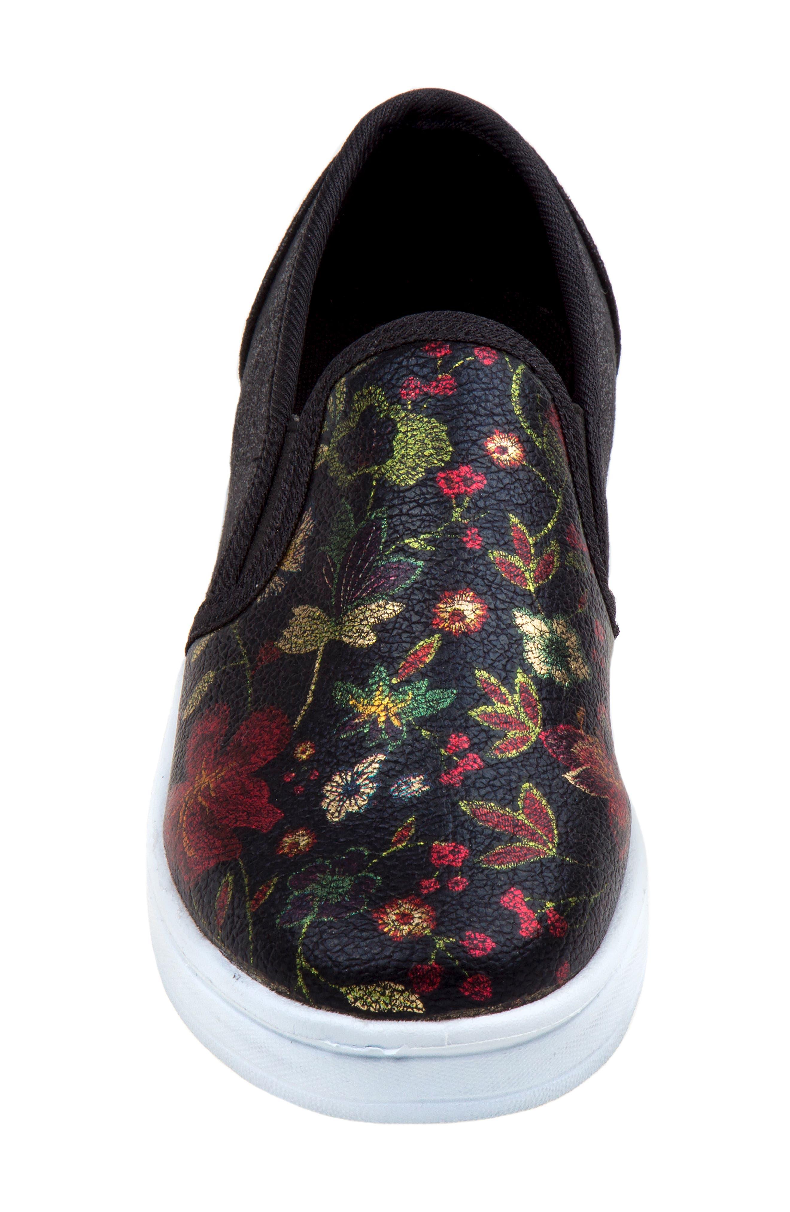 Floral Slip-On Sneaker,                             Alternate thumbnail 3, color,                             BLACK