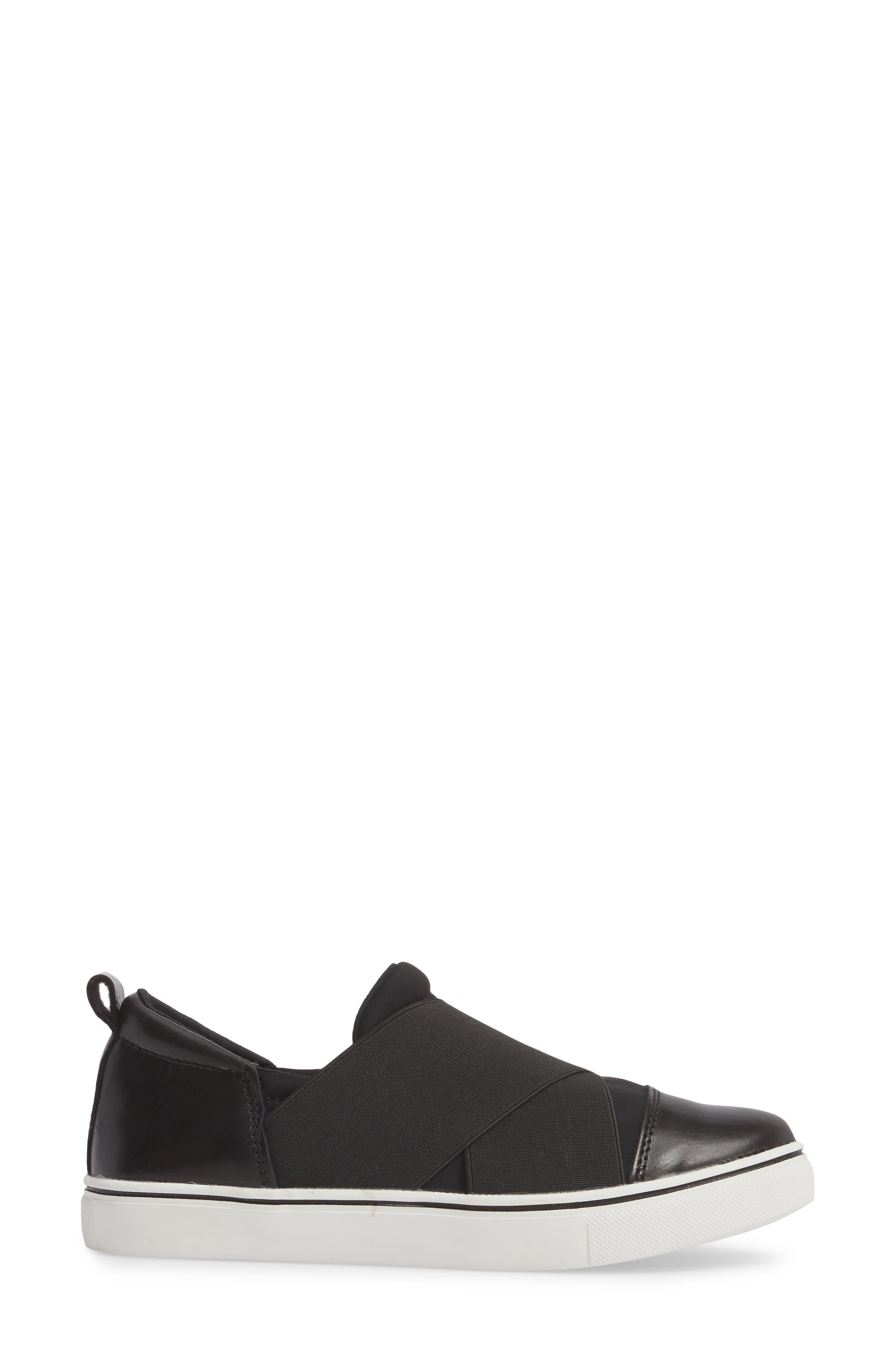 Elmwood Slip-On Sneaker,                             Alternate thumbnail 3, color,                             BLACK LEATHER