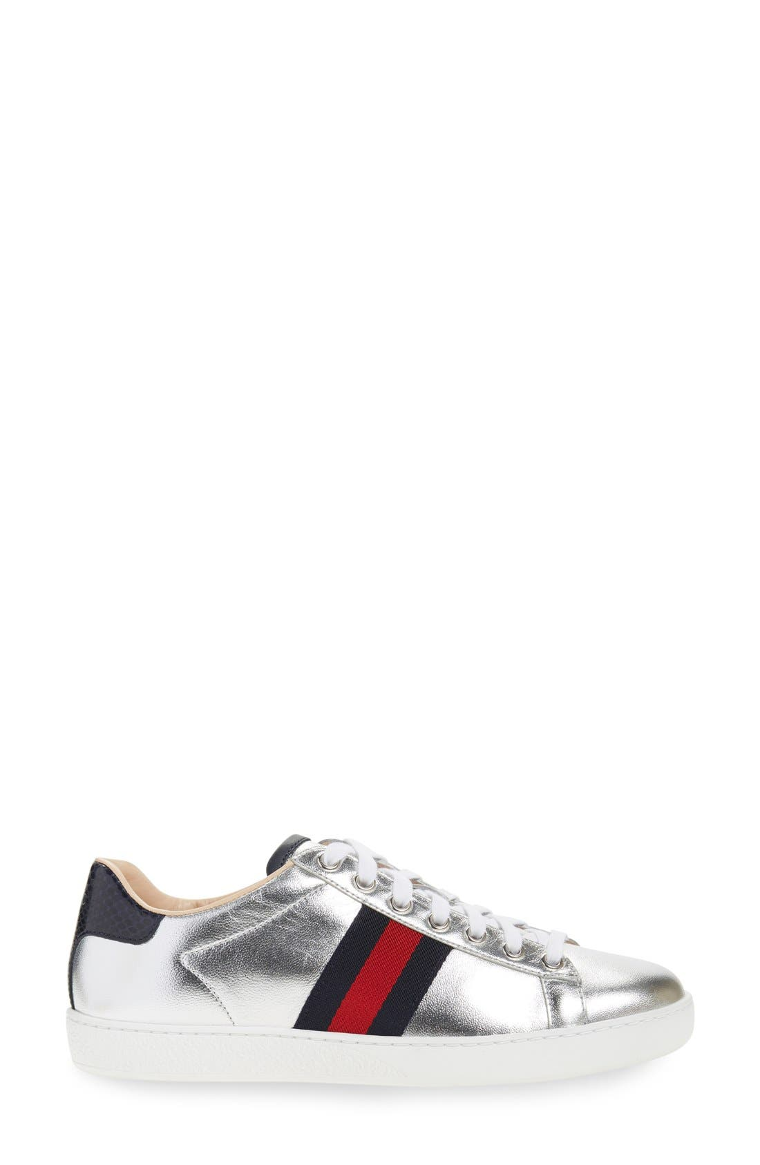 GUCCI,                             'New Ace' Metallic Low Top Sneaker,                             Alternate thumbnail 3, color,                             040