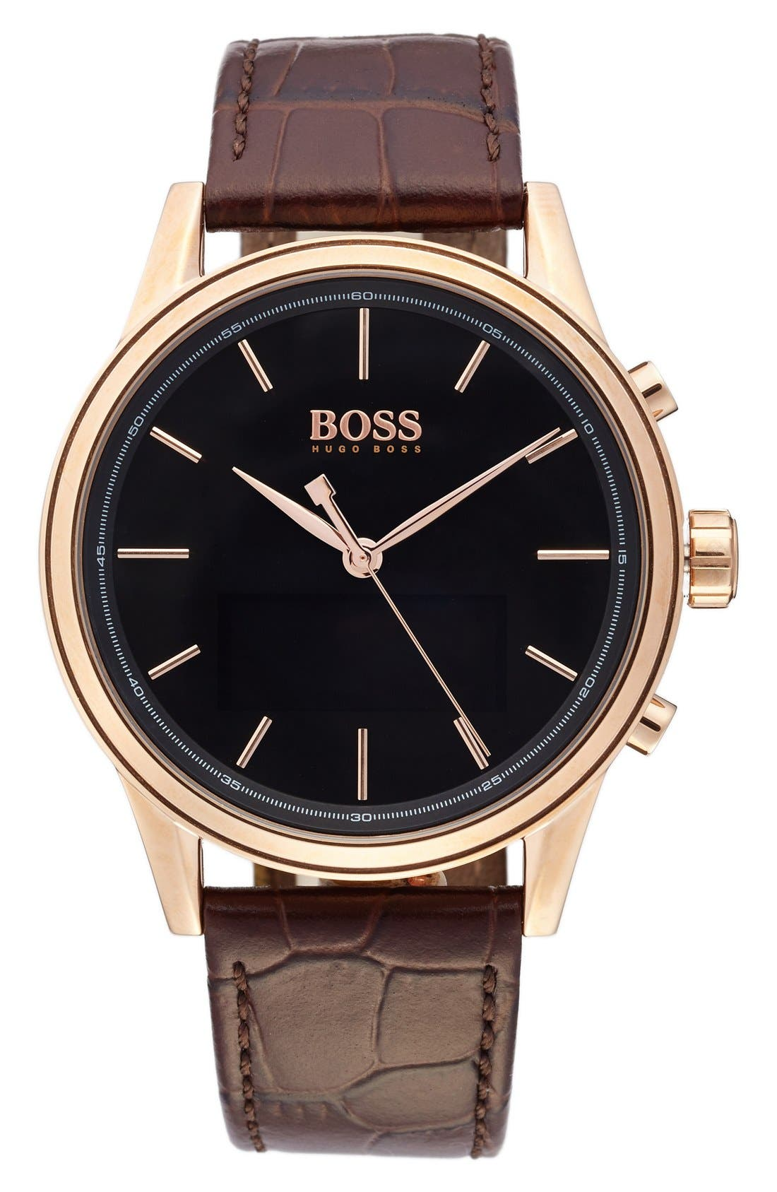 BOSS Classic Leather Strap Smart Watch, 44mm,                             Alternate thumbnail 4, color,
