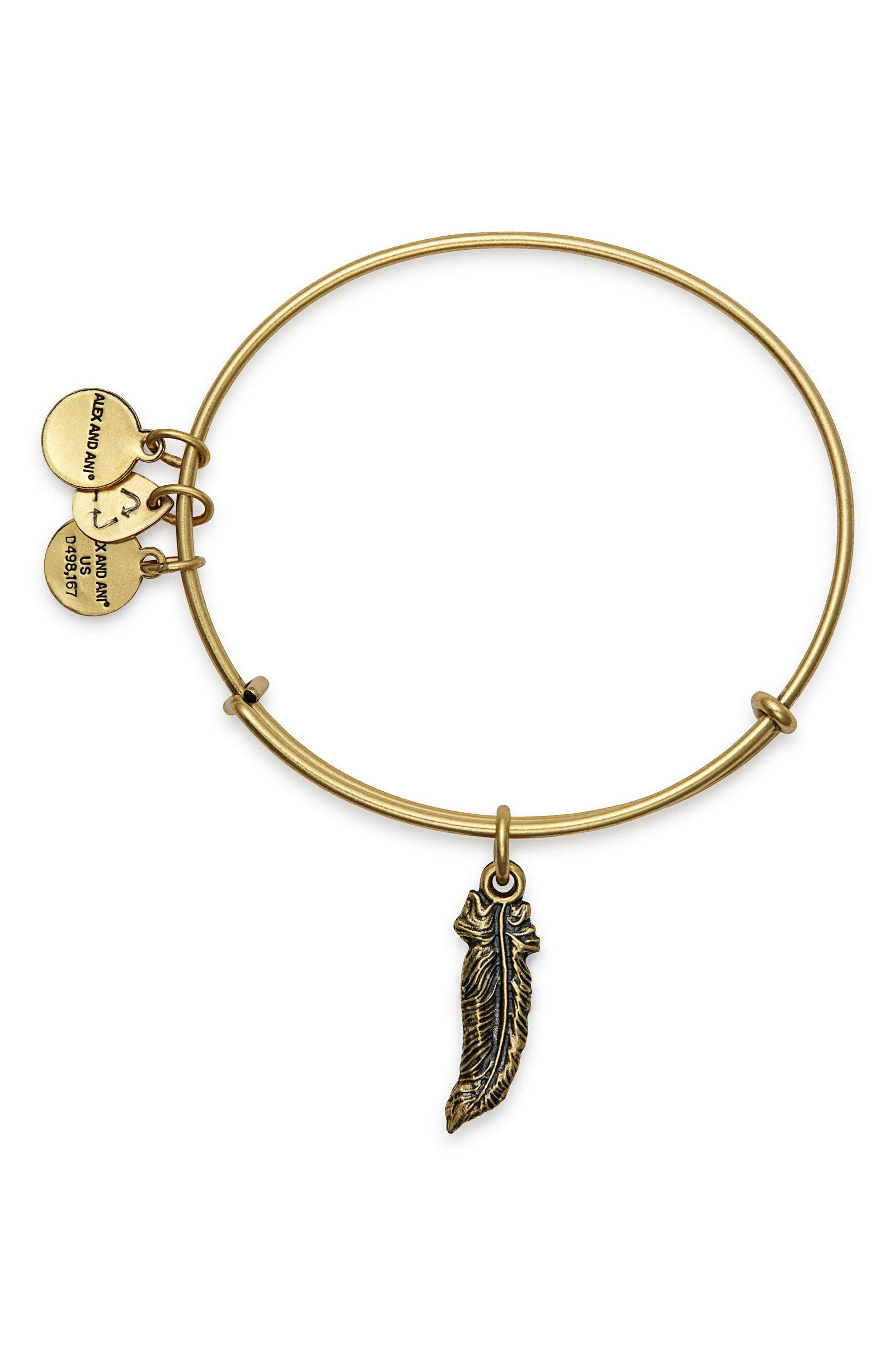 Feather Adjustable Wire Bangle,                             Alternate thumbnail 2, color,                             RUSSIAN GOLD