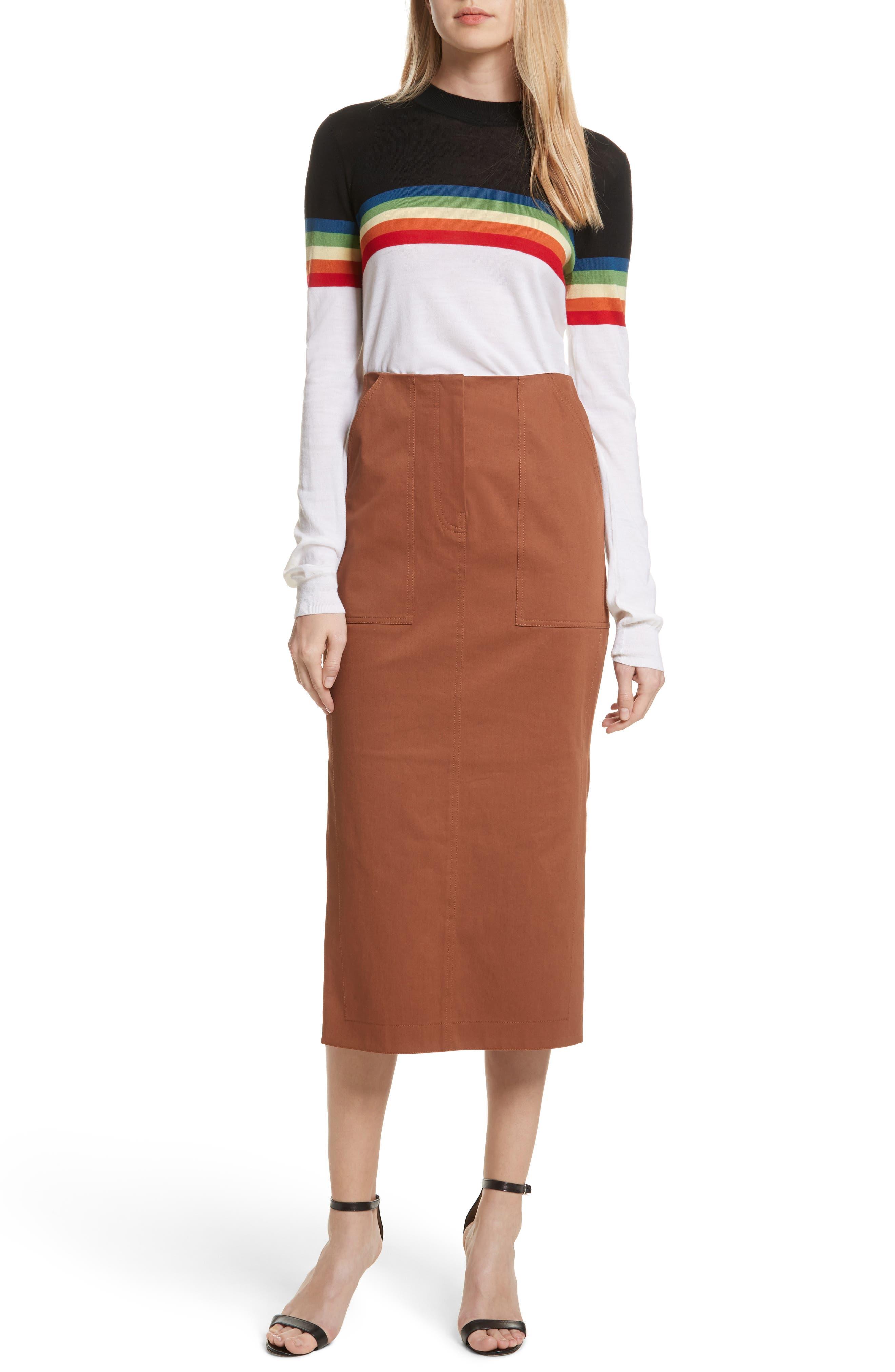 Diane von Furstenberg Midi Twill Pencil Skirt,                             Alternate thumbnail 7, color,                             203