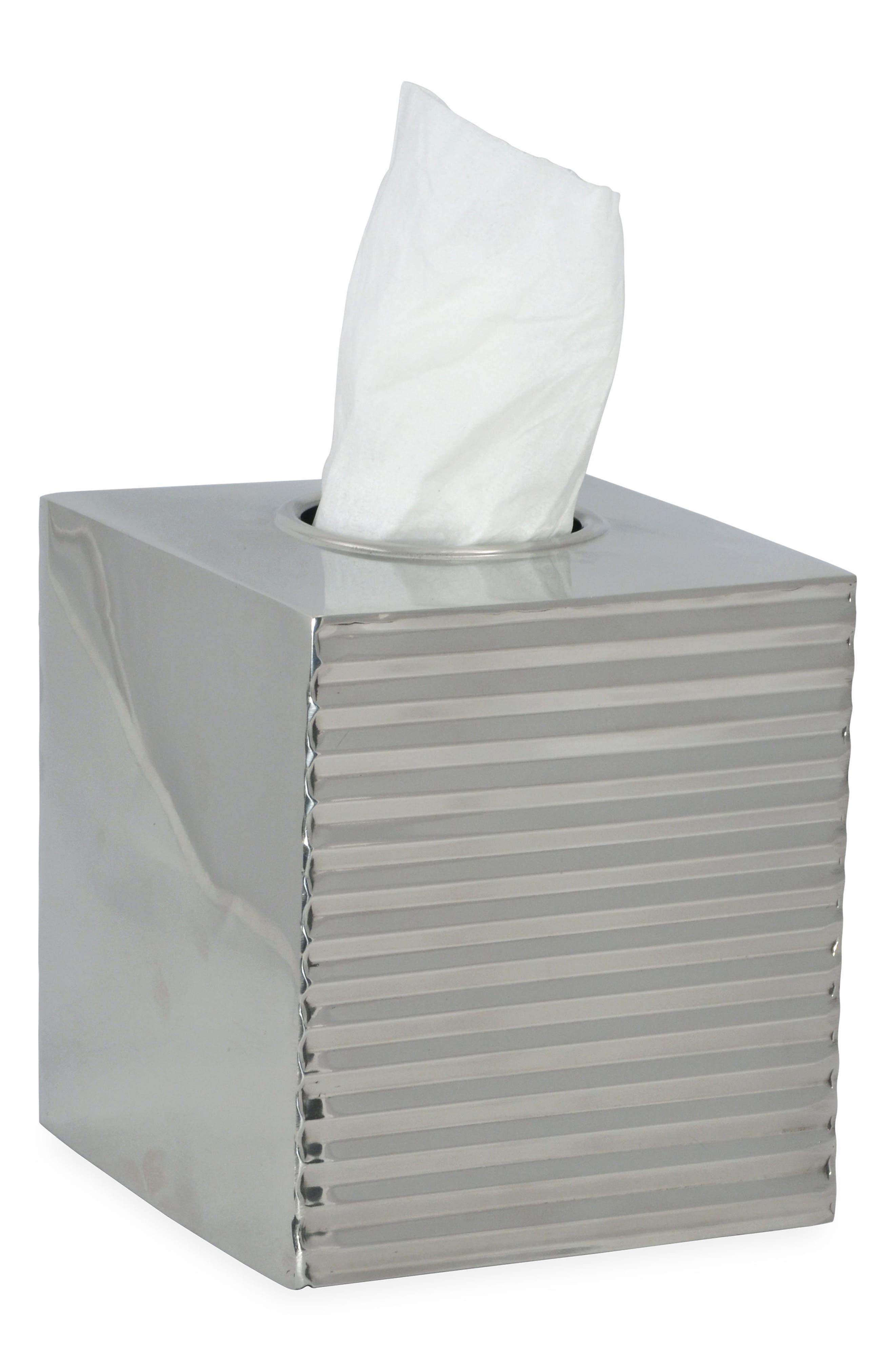 Corrugated Tissue Box Cover, Main, color, SILVER