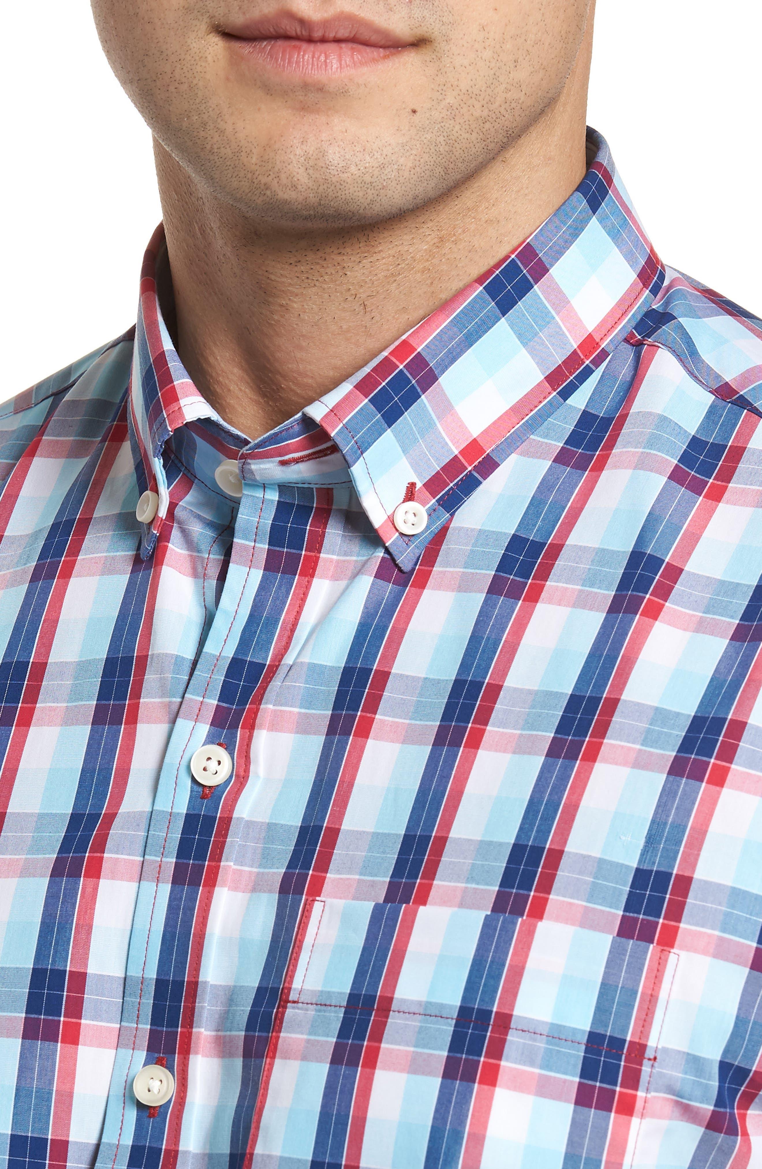 Zachary Non-Iron Plaid Sport Shirt,                             Alternate thumbnail 4, color,                             479