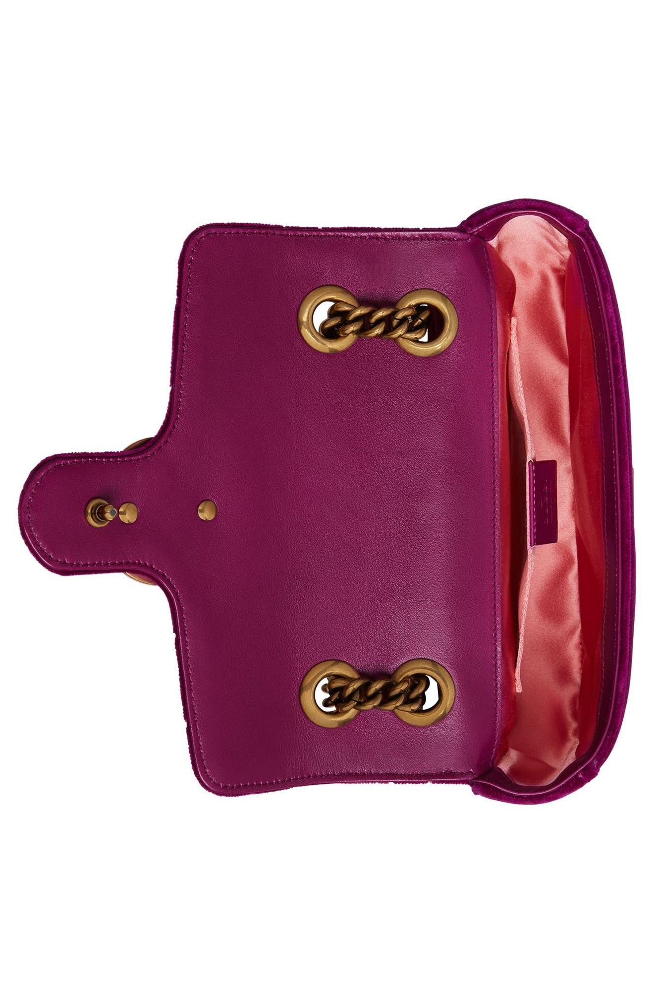 Small GG Marmont 2.0 Matelassé Velvet Shoulder Bag,                             Alternate thumbnail 3, color,                             FUCSIA