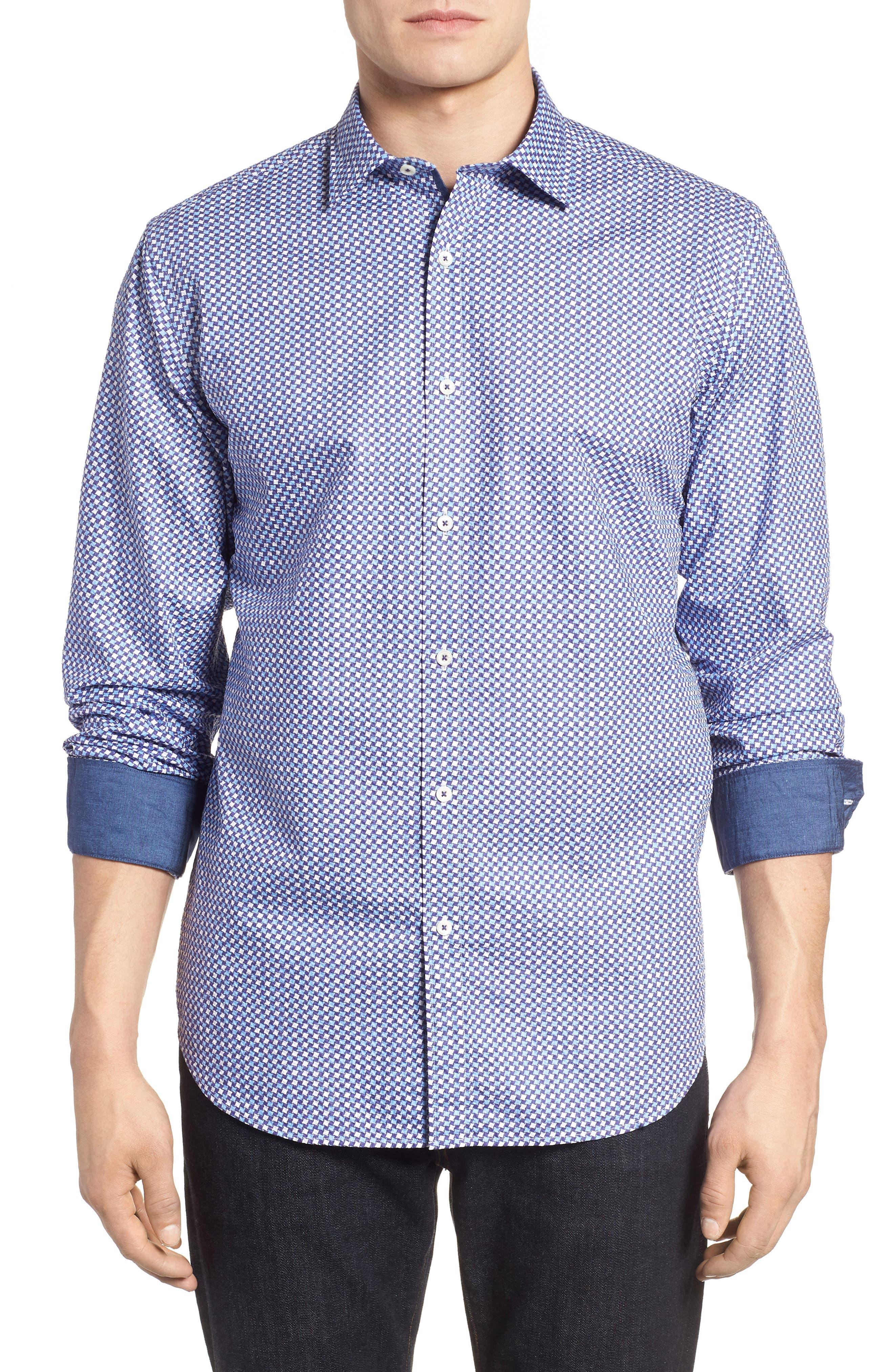 Classic Fit Print Seersucker Sport Shirt,                         Main,                         color, CLASSIC BLUE