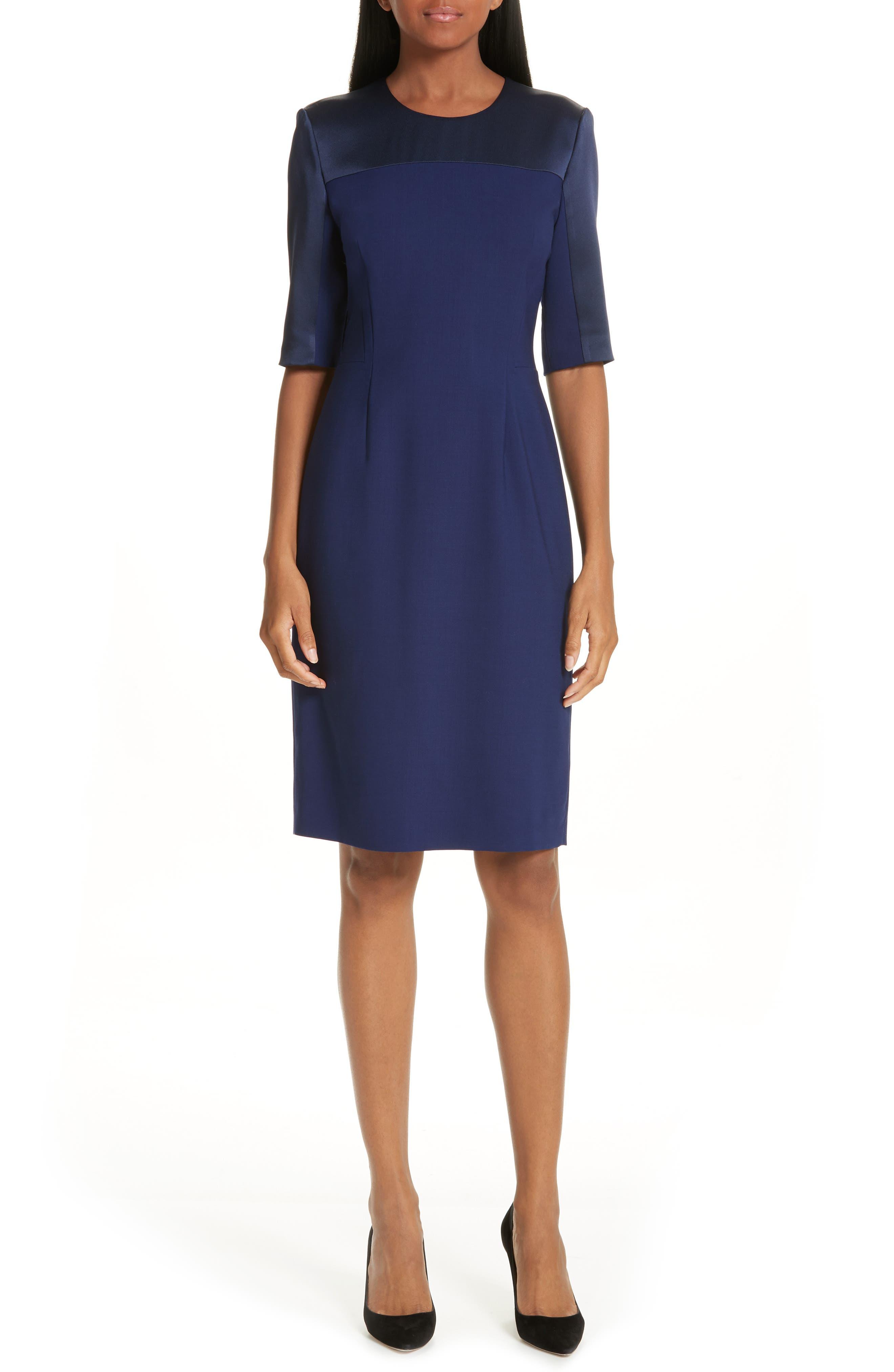 Danufa Stretch Wool Sheath Dress,                             Main thumbnail 1, color,                             INK BLUE