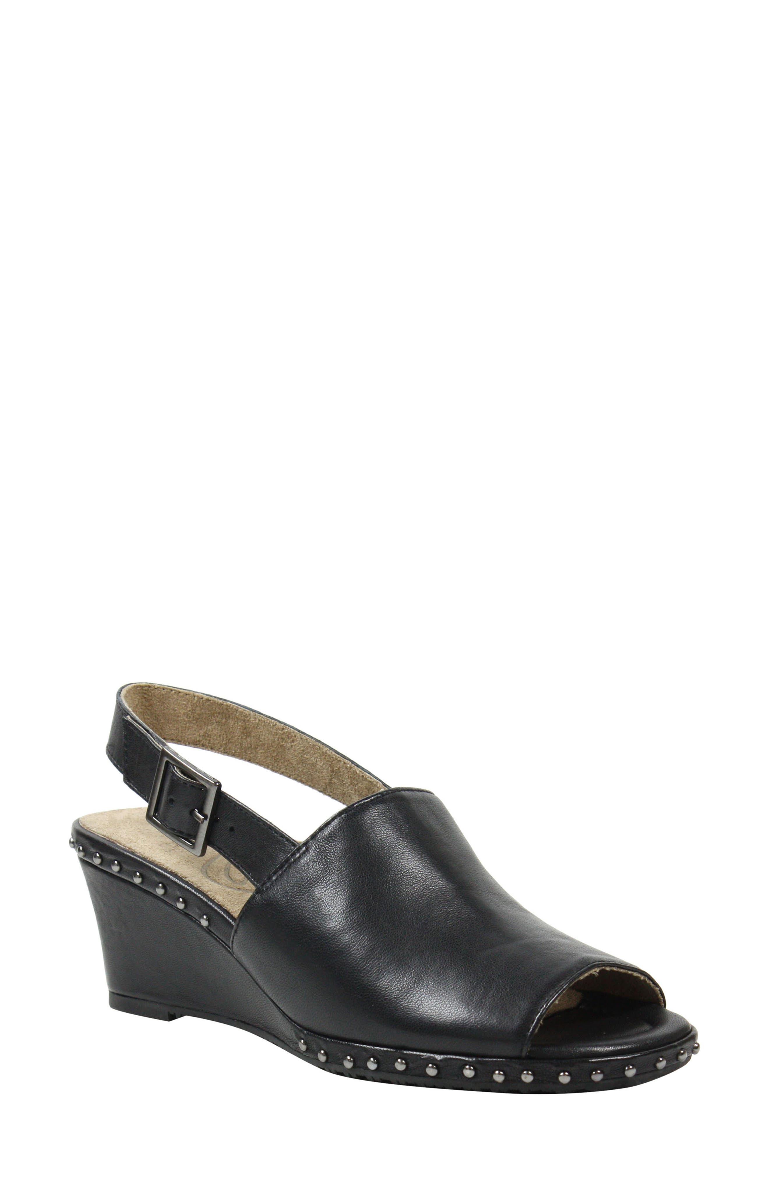 Antandra Wedge Sandal,                             Main thumbnail 1, color,                             BLACK LEATHER