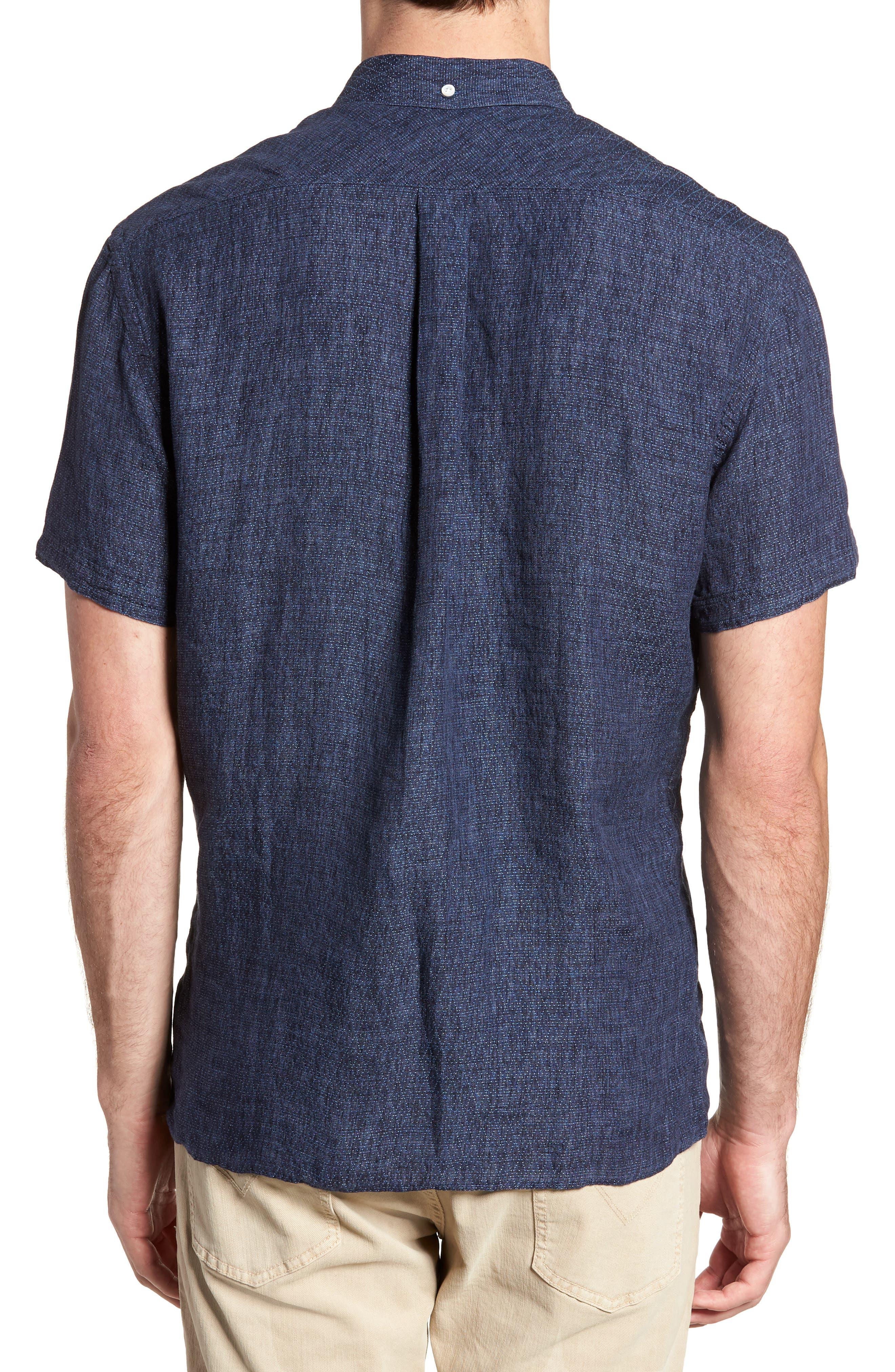 Leo Standard Fit Short Sleeve Sport Shirt,                             Alternate thumbnail 2, color,                             BLUE