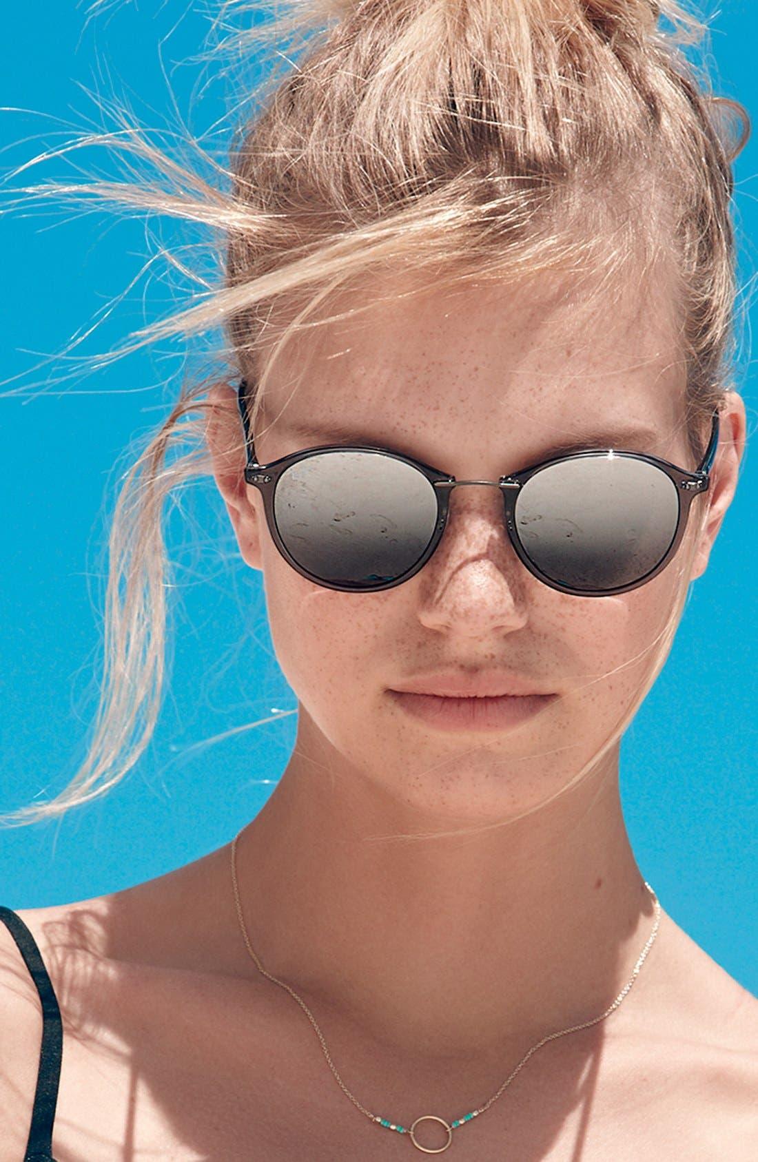 49mm Round Sunglasses,                             Alternate thumbnail 3, color,                             001