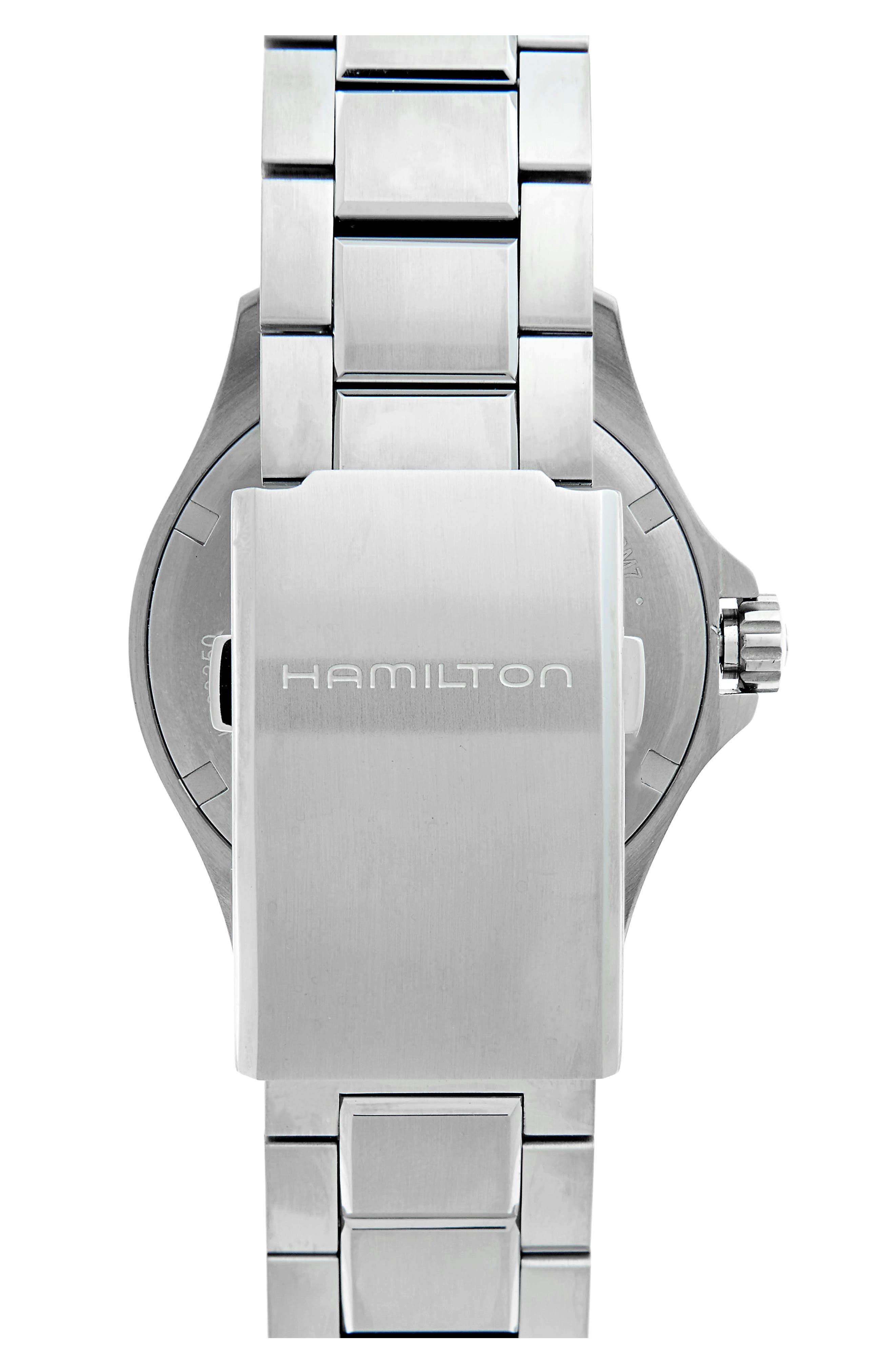 Khaki Automatic Bracelet Watch, 40mm,                             Alternate thumbnail 2, color,                             SILVER/ BLACK/ SILVER