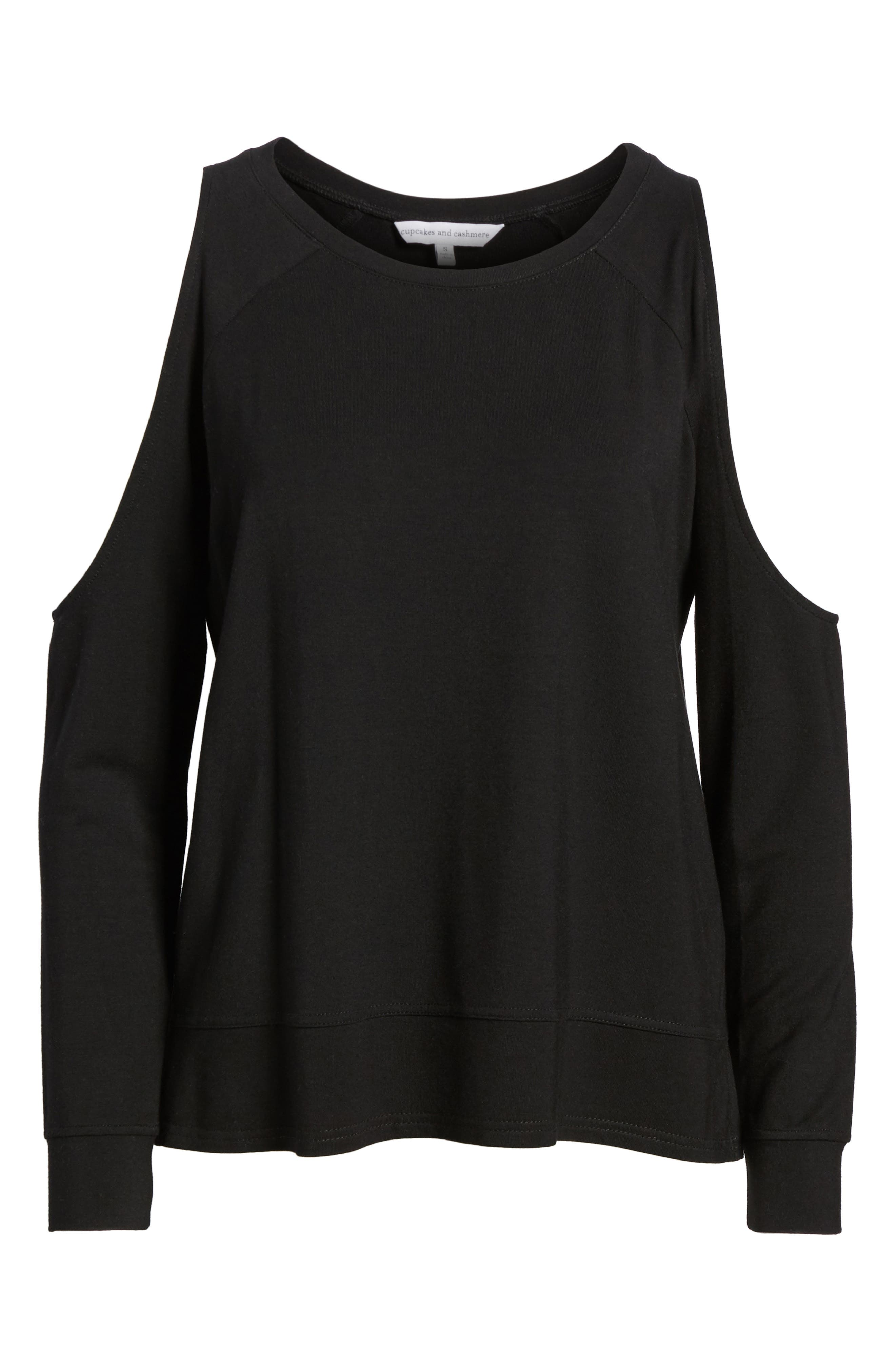 Mariam Cold Shoulder Tee,                             Alternate thumbnail 6, color,                             001