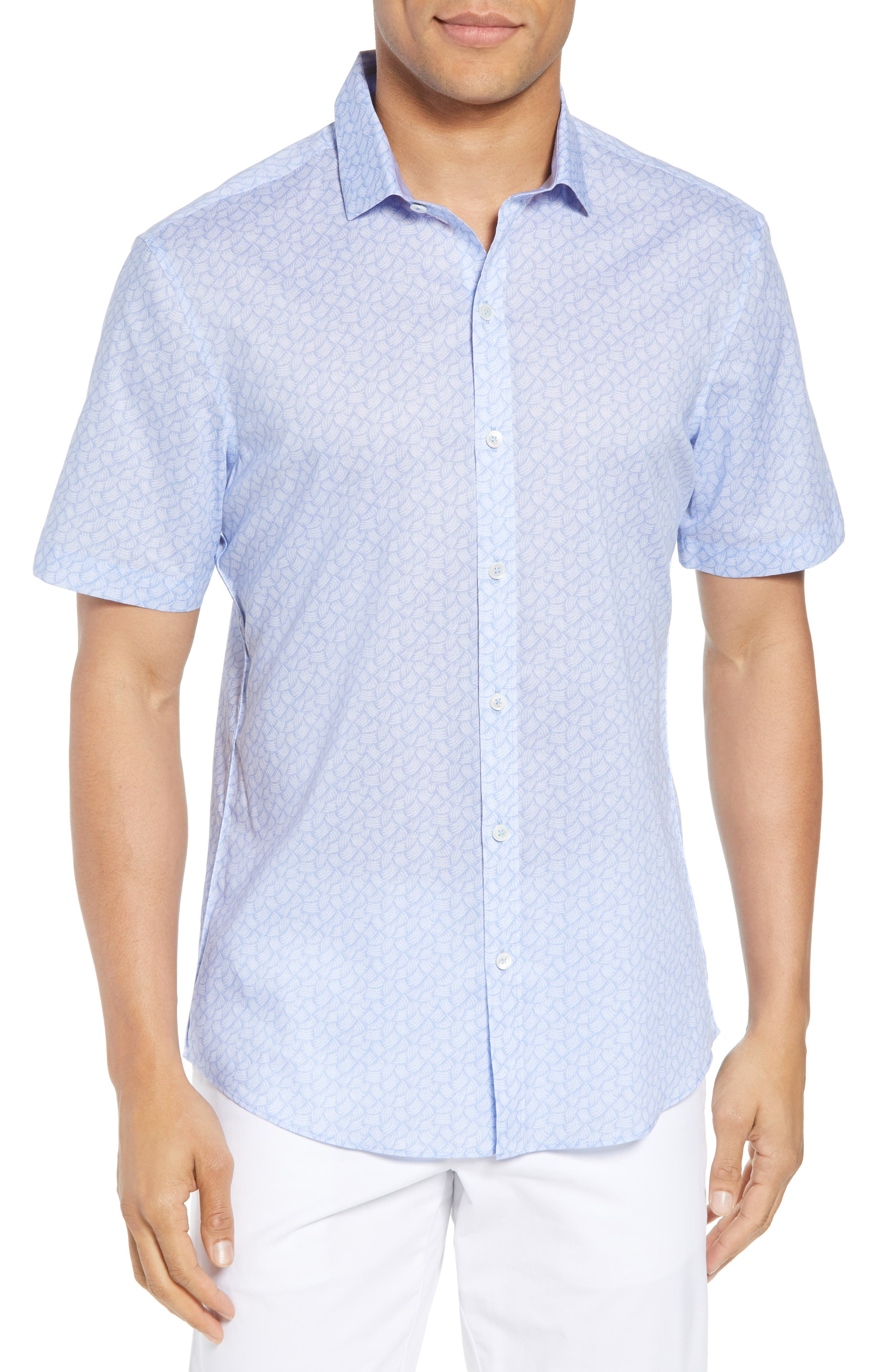 Garrett Trim Fit Sport Shirt,                         Main,                         color, BLUE