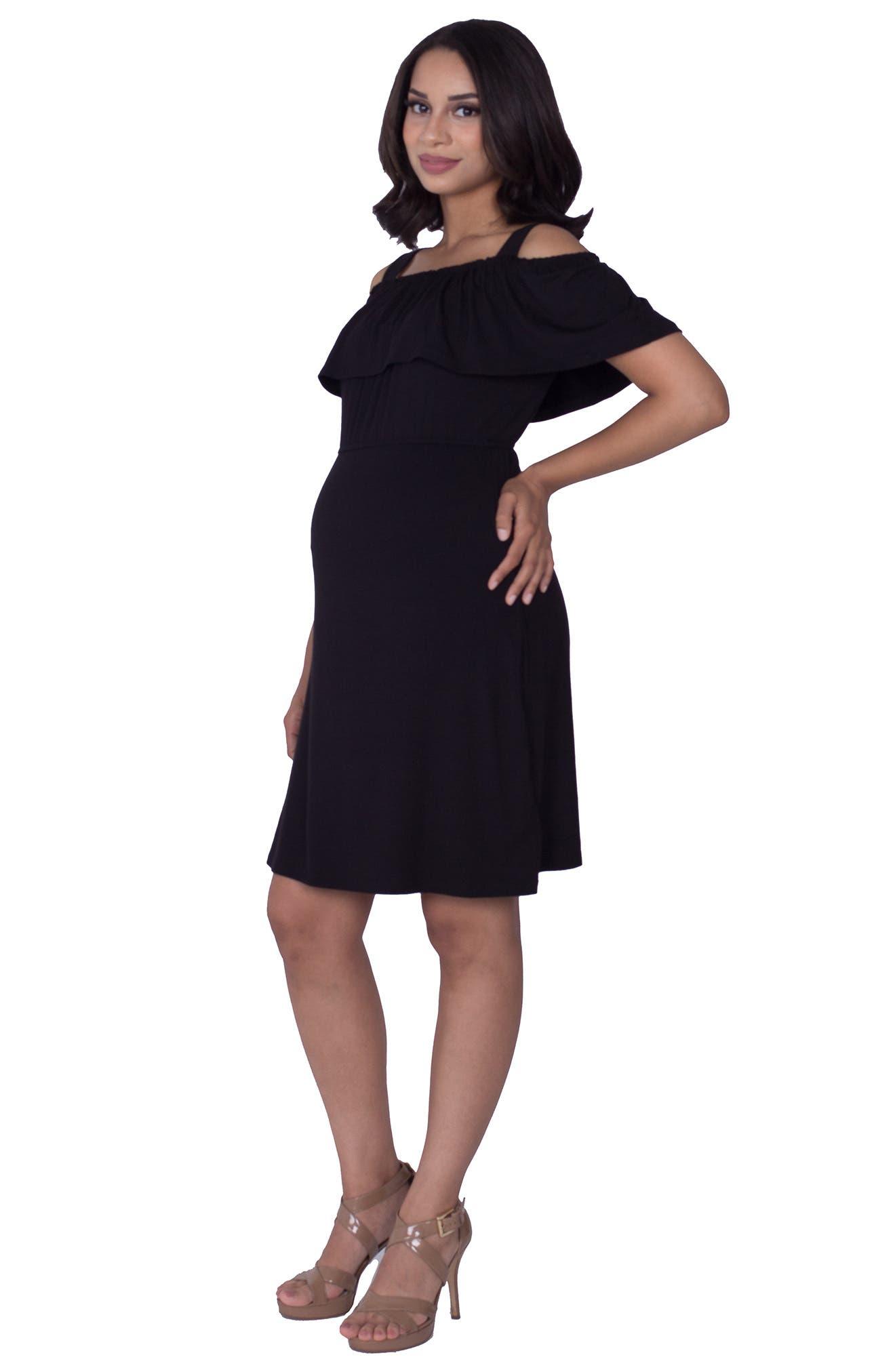 Reagan Nursing Dress,                             Alternate thumbnail 4, color,                             BLACK