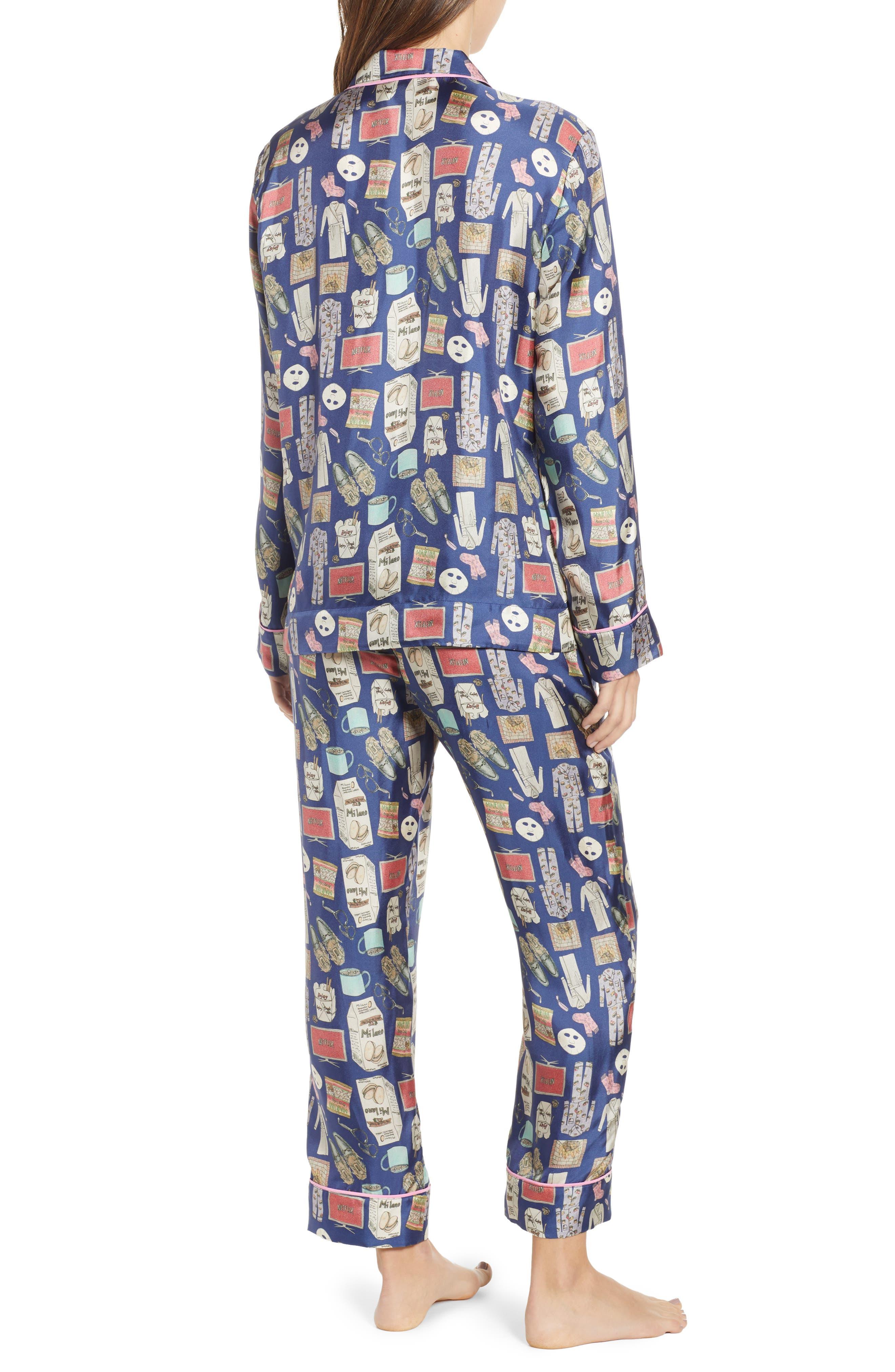 Netflix & Chill Silk Blend Pajamas & Eye Mask,                             Alternate thumbnail 2, color,                             BLUE