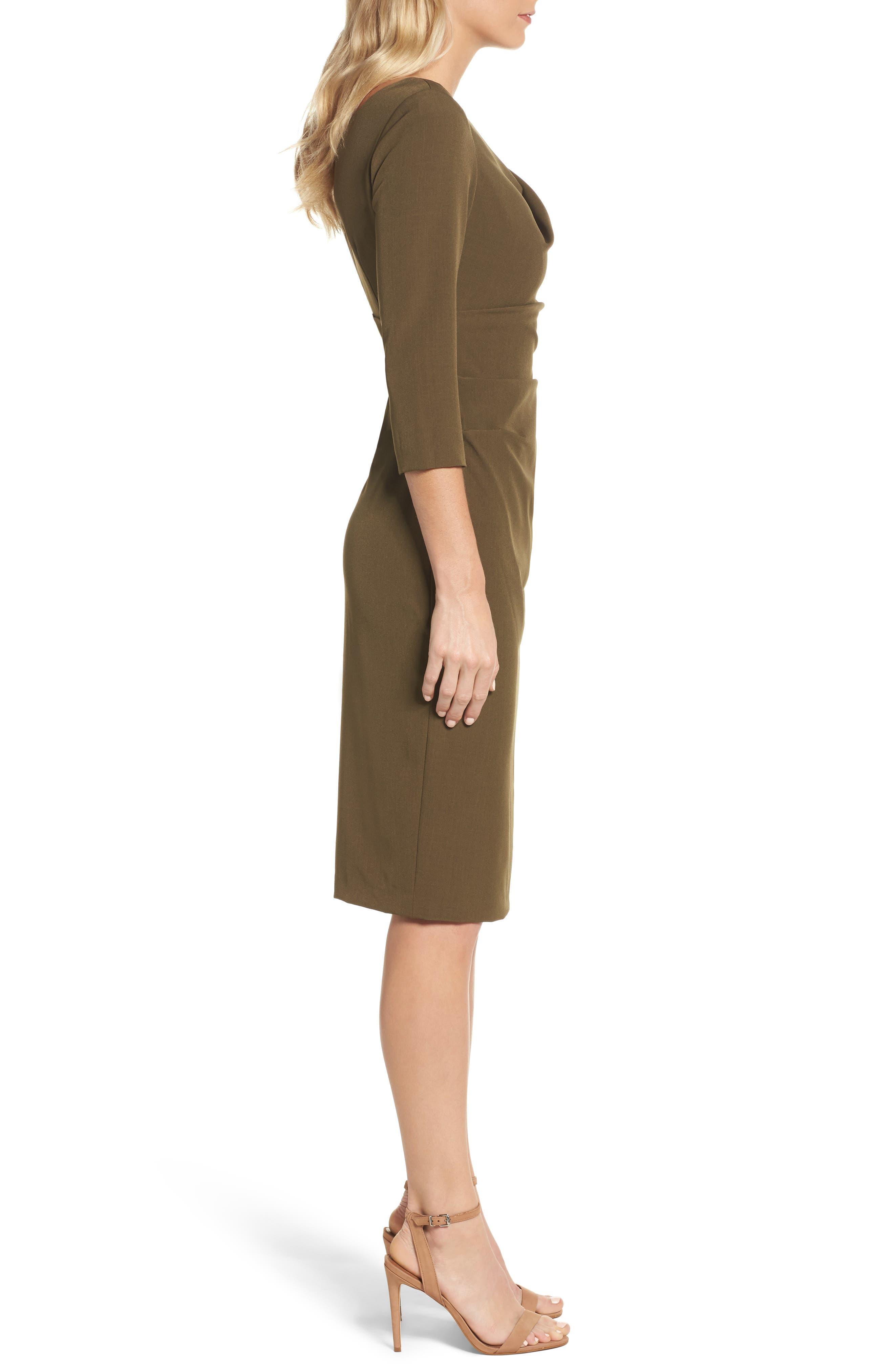Drape Neck Midi Dress,                             Alternate thumbnail 3, color,                             371