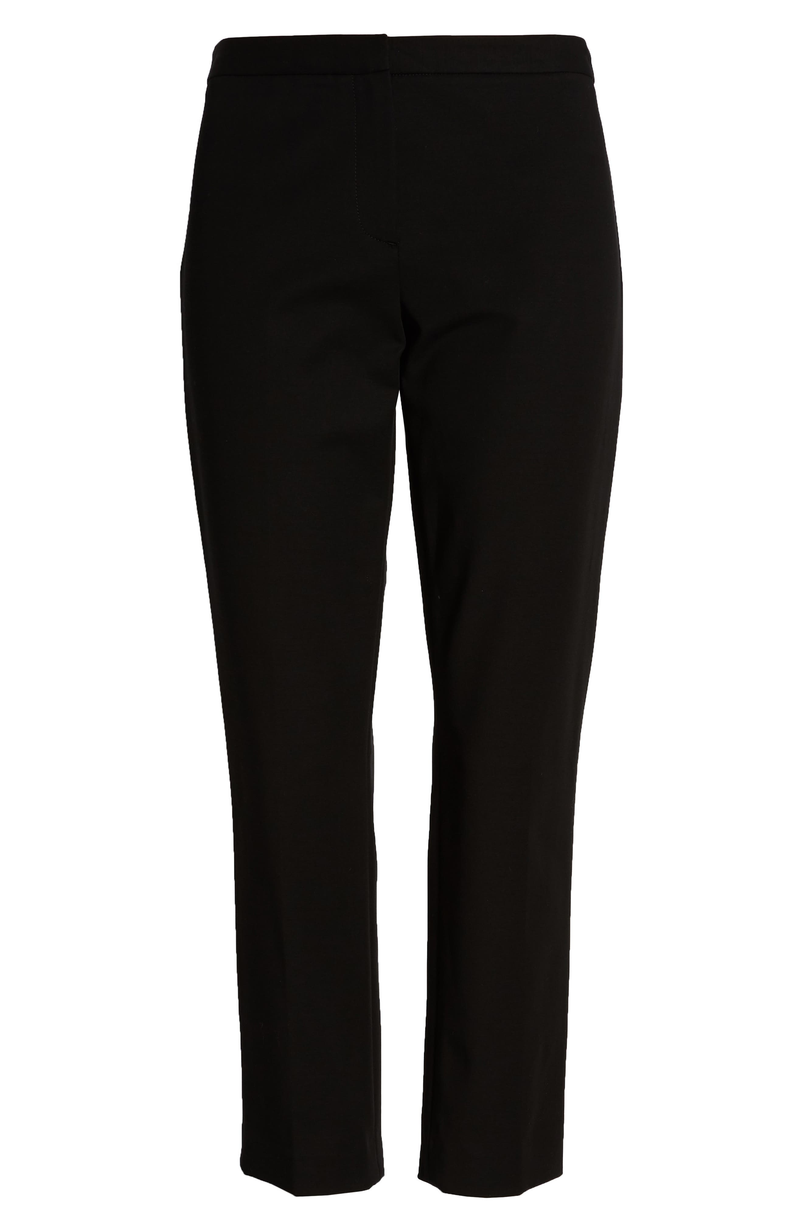 Classic Stretch Cotton Skinny Pants,                             Alternate thumbnail 4, color,                             BLACK