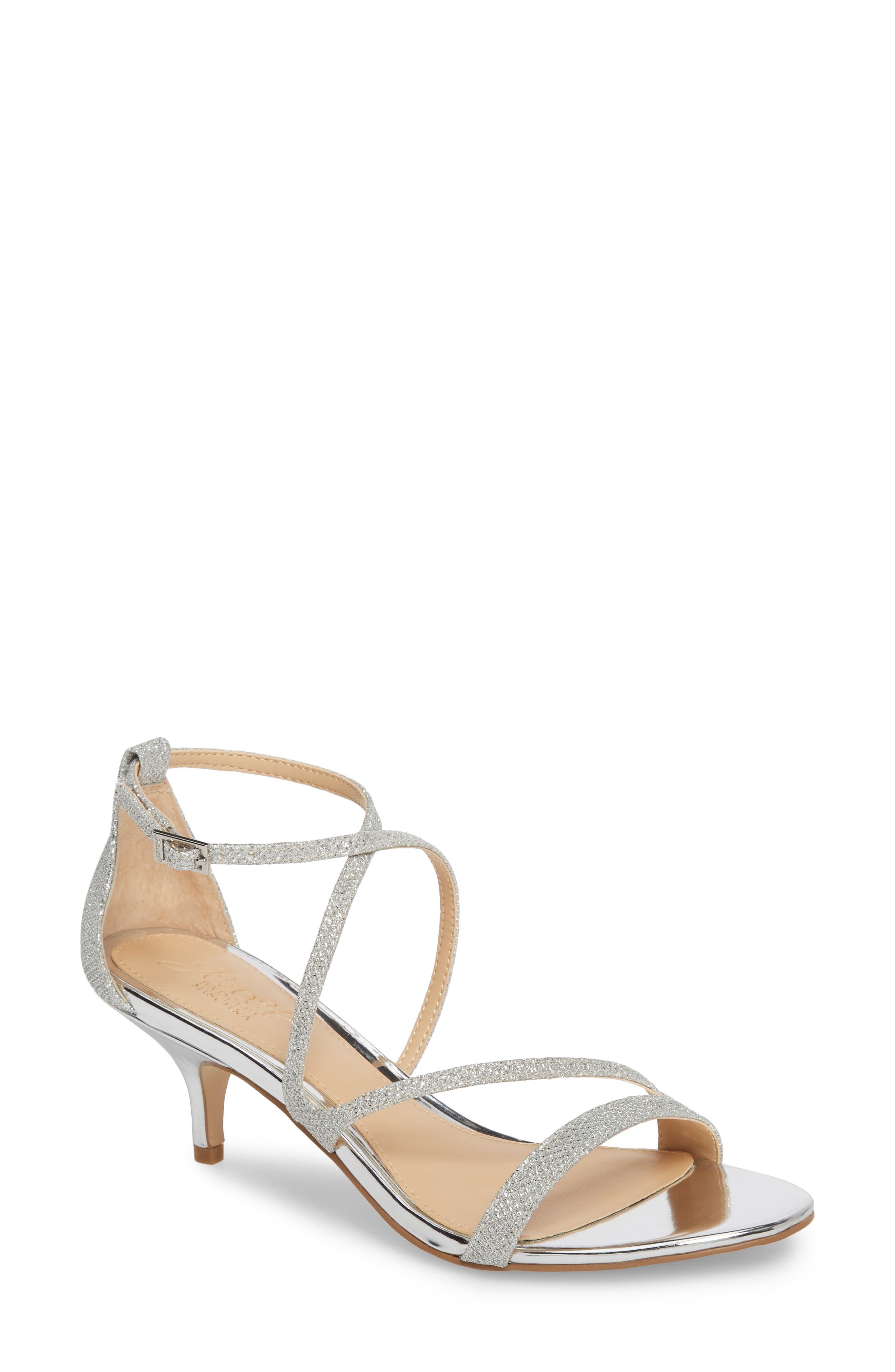 Gal Glitter Kitten Heel Sandal,                             Main thumbnail 1, color,                             SILVER GLITTER FABRIC