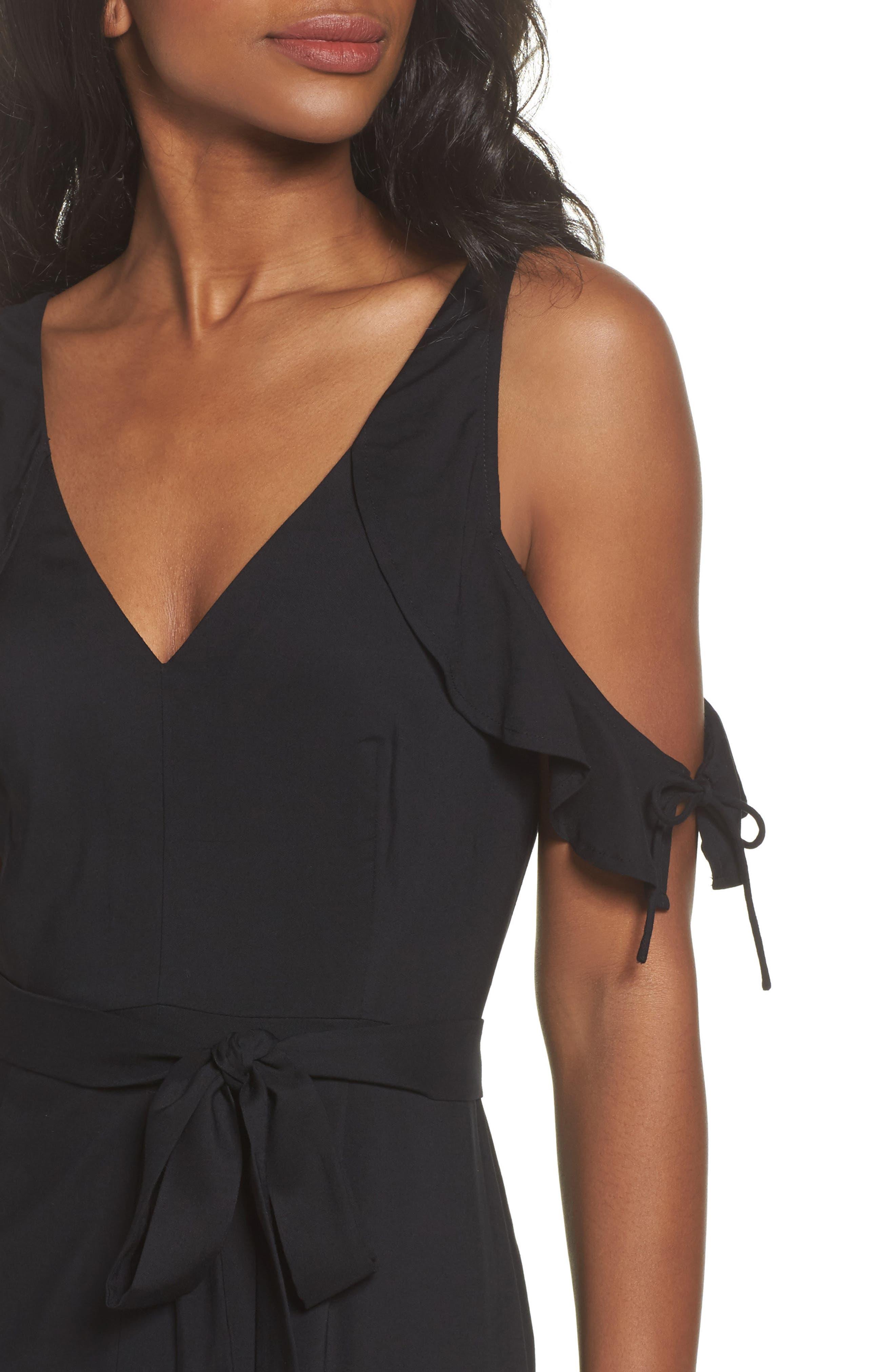 Lystra Cold Shoulder Maxi Dress,                             Alternate thumbnail 4, color,                             001