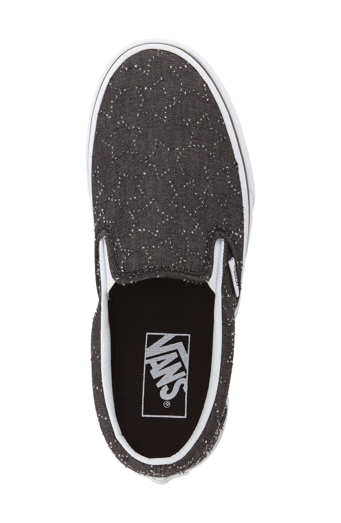 Classic Slip-On Sneaker,                             Alternate thumbnail 3, color,                             CHECKER FLORAL BLACK
