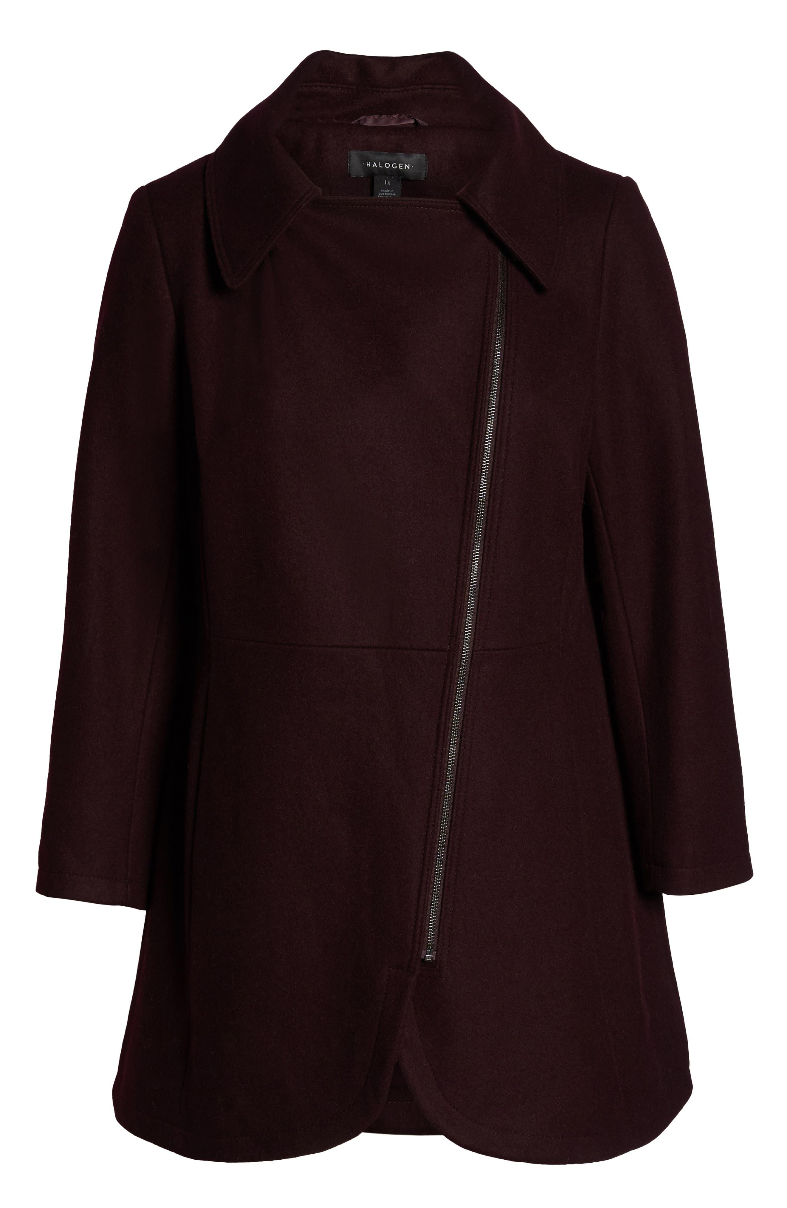 Asymmetrical Zip Wool Blend Coat,                             Alternate thumbnail 6, color,                             WINE