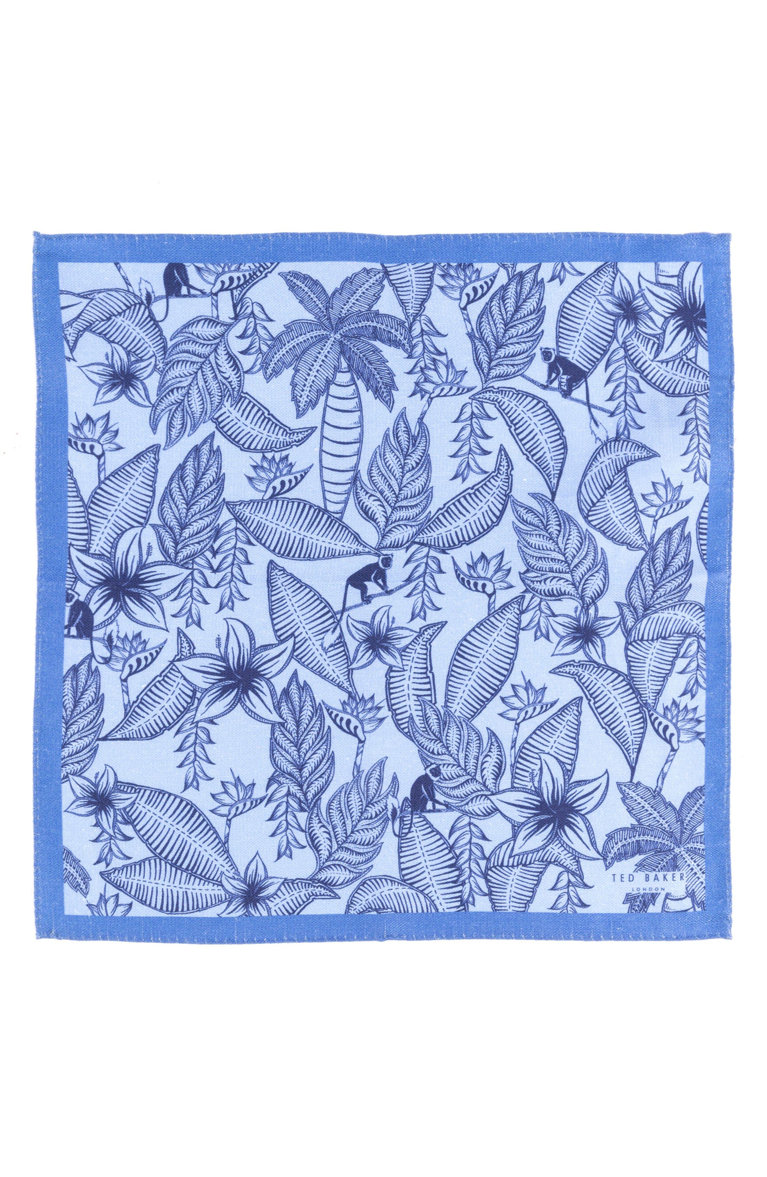 Monkey Botanical Silk Pocket Square,                             Alternate thumbnail 2, color,                             455