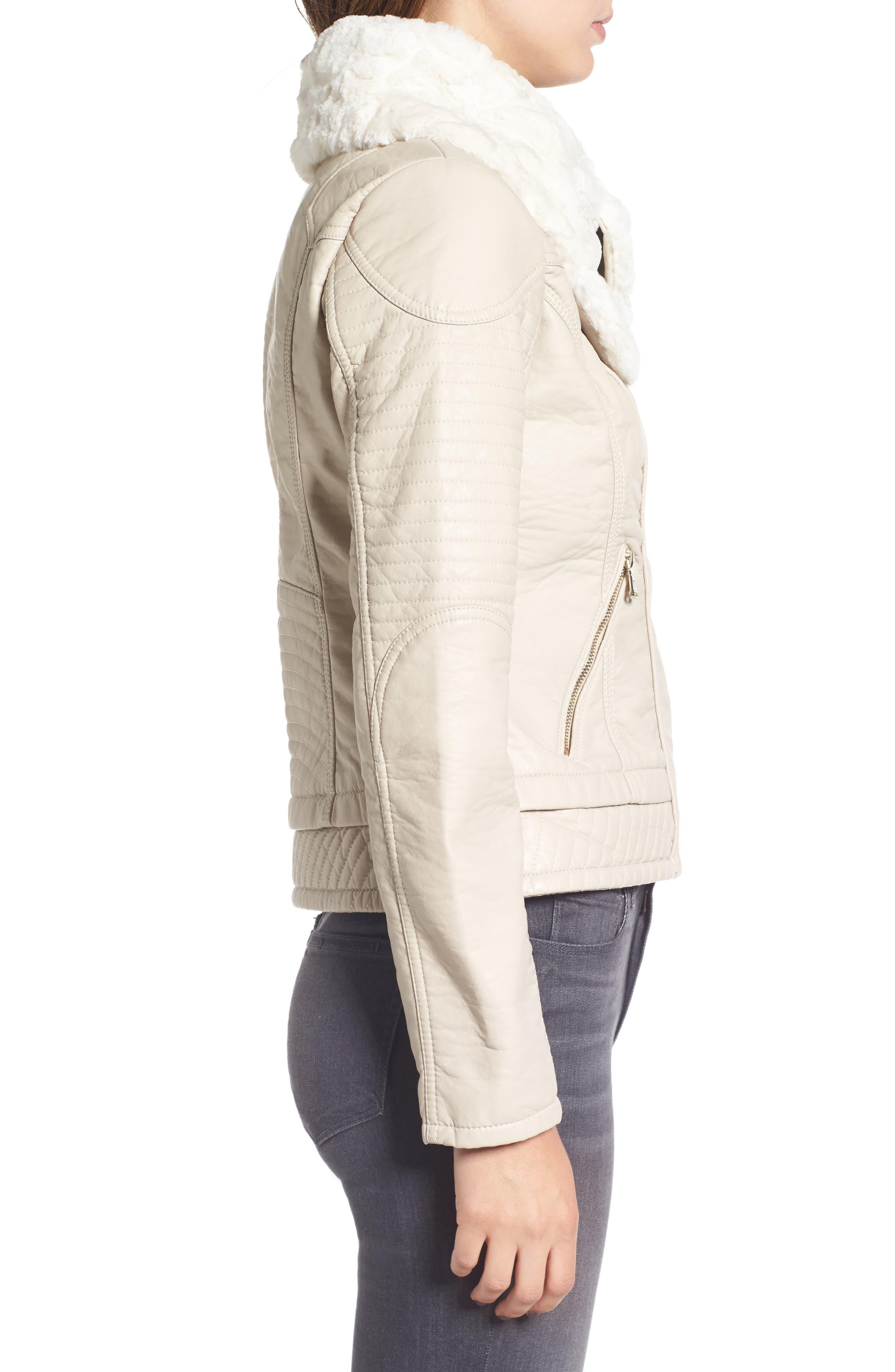 Faux Fur Collar Jacket,                             Alternate thumbnail 3, color,                             077