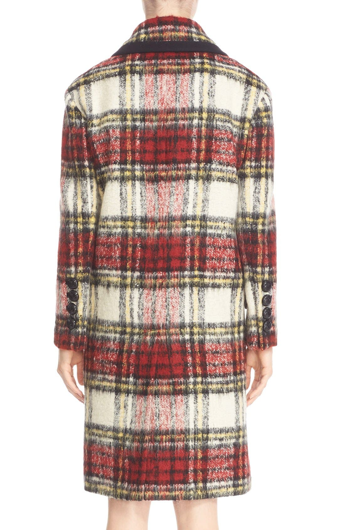 BURBERRY PRORSUM,                             Tartan Plaid Wool Blend Coat,                             Alternate thumbnail 2, color,                             930