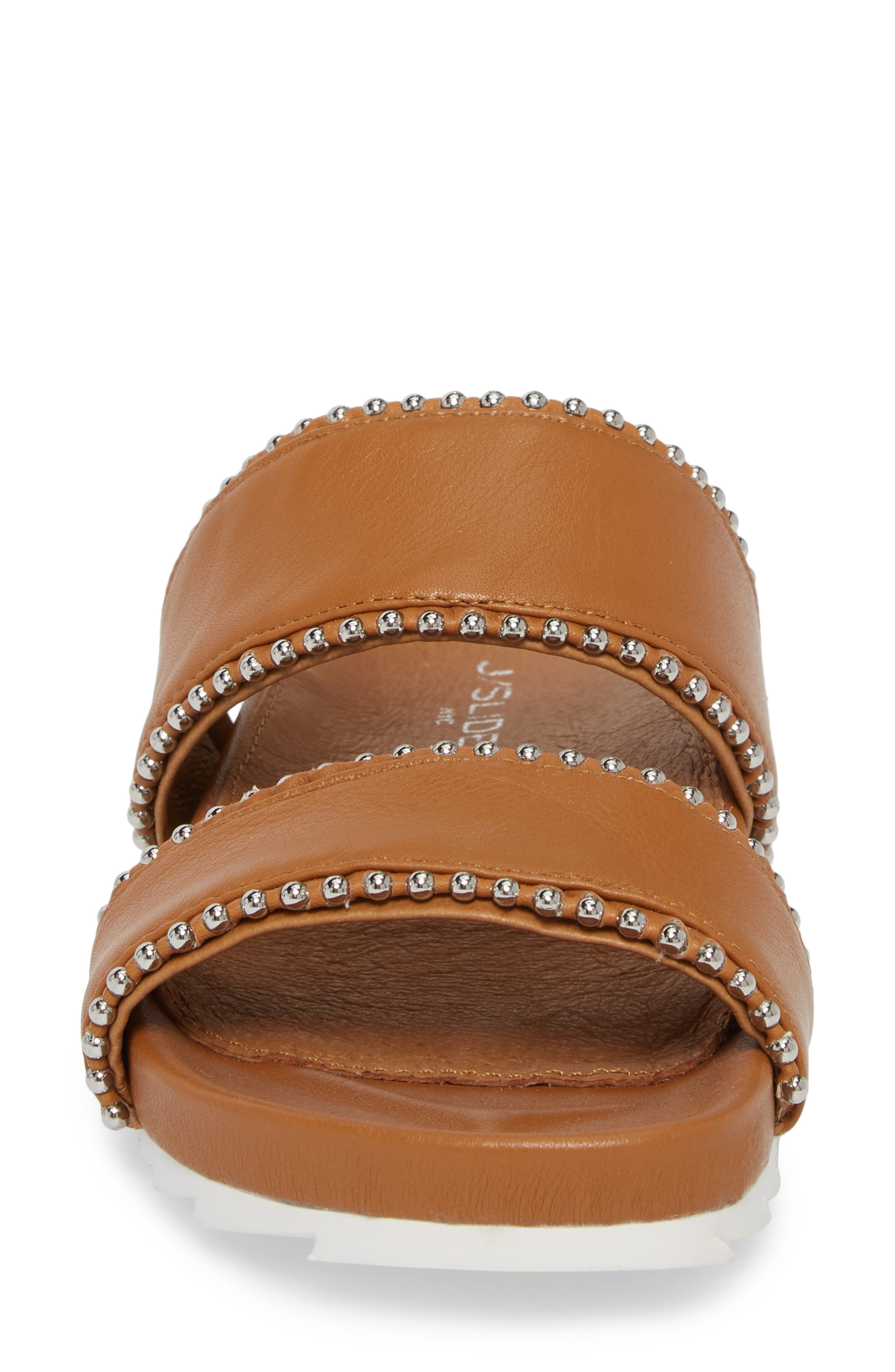 Emmie Bead Chain Slide Sandal,                             Alternate thumbnail 4, color,                             TAN LEATHER