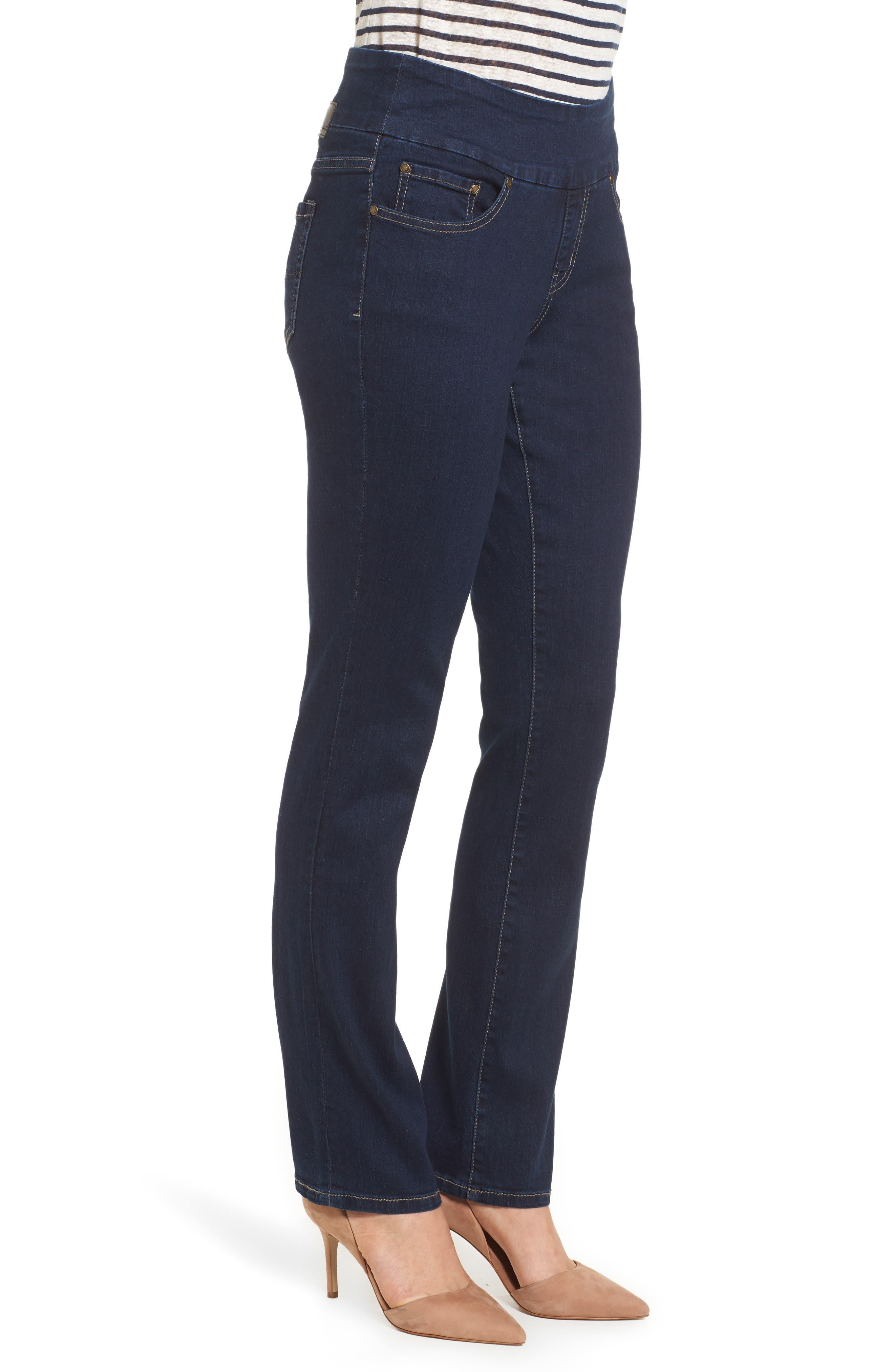 Peri Pull-On Straight Leg Jeans,                             Alternate thumbnail 3, color,                             DARK INDIGO
