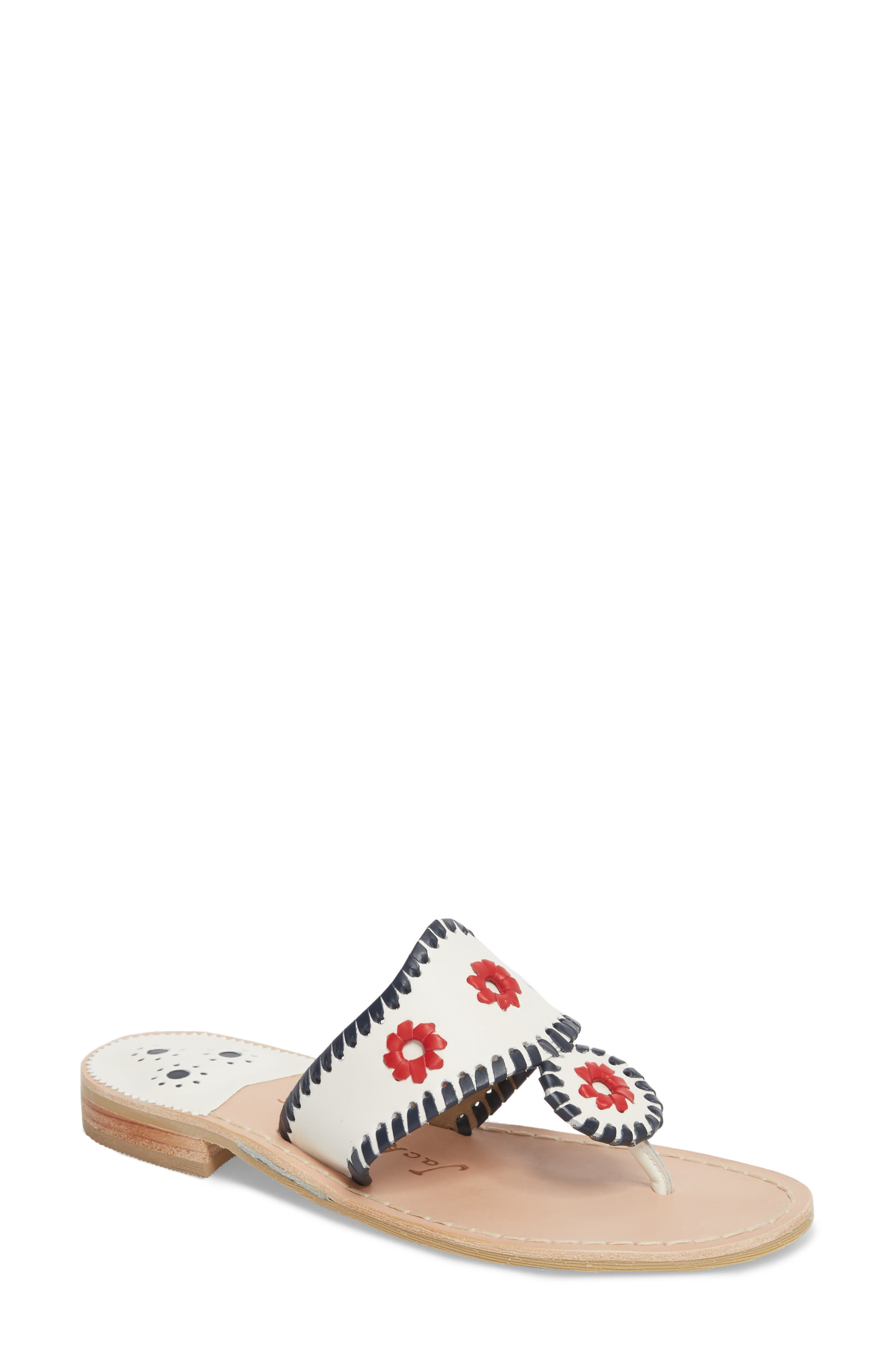 Patriotic Jack Sandal,                         Main,                         color, WHITE/ NAVY/ RED LEATHER