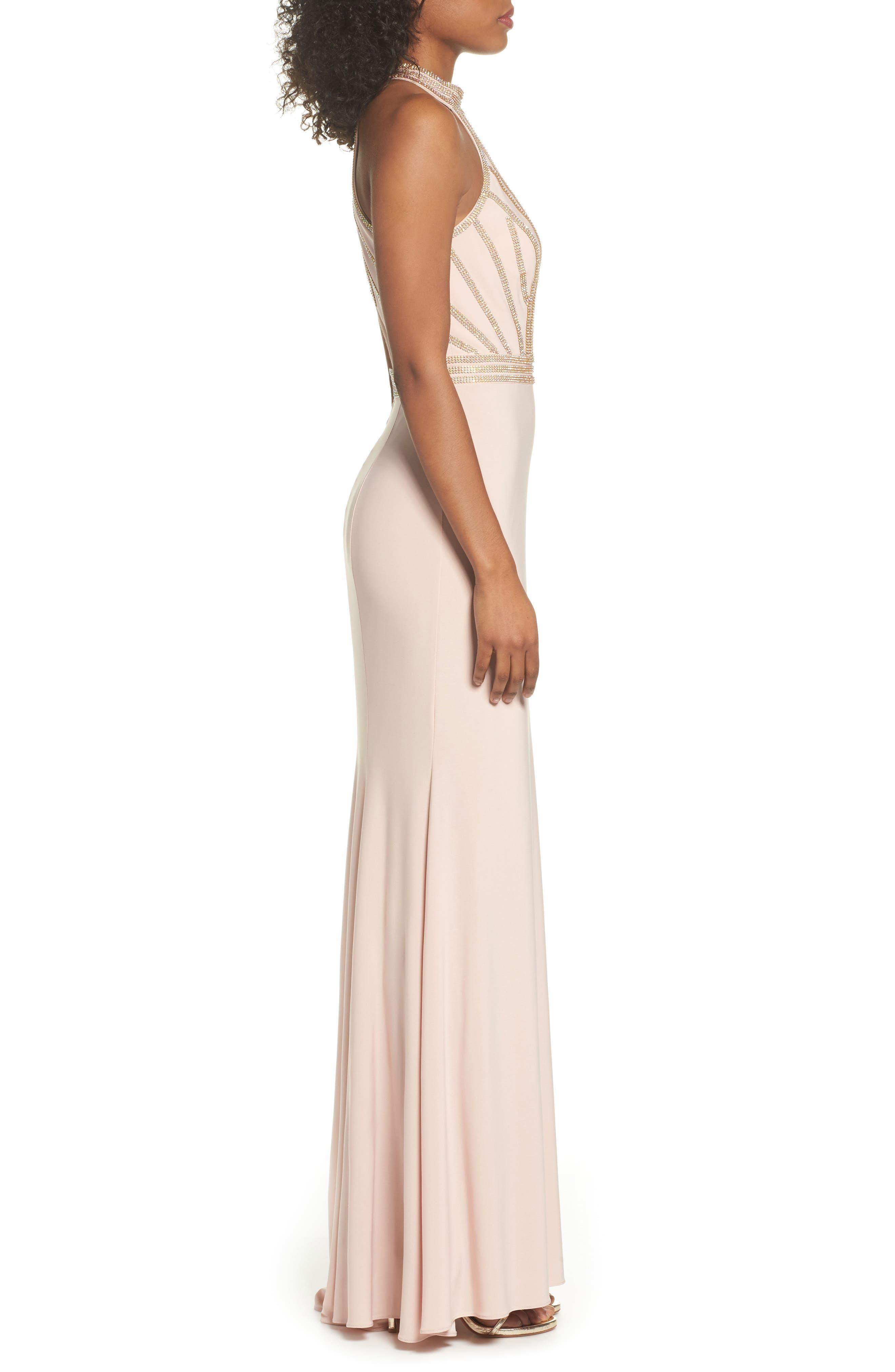 Embellished Halter Neck Gown,                             Alternate thumbnail 3, color,
