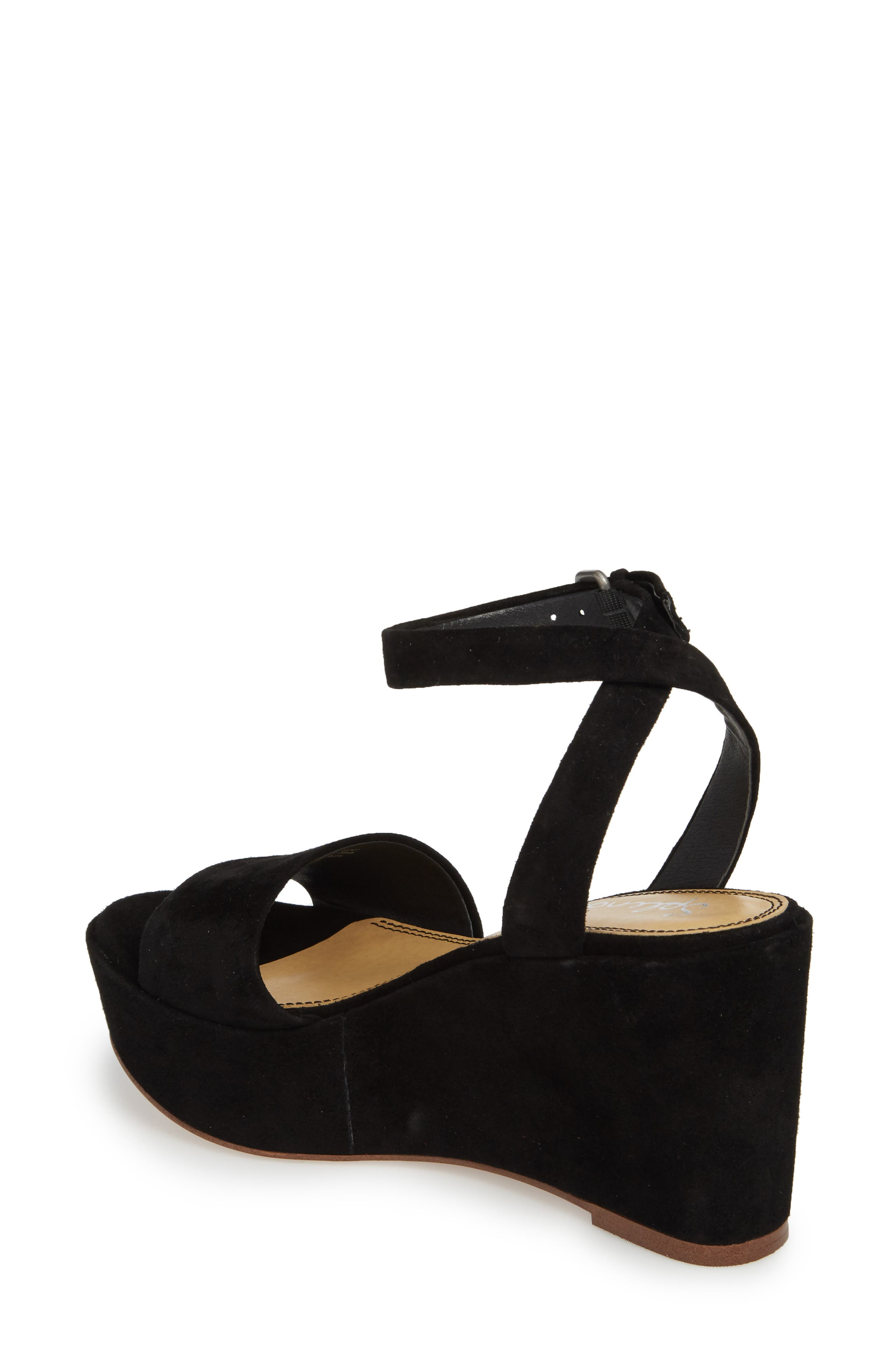 Felix Platform Wedge Sandal,                             Alternate thumbnail 2, color,                             BLACK SUEDE