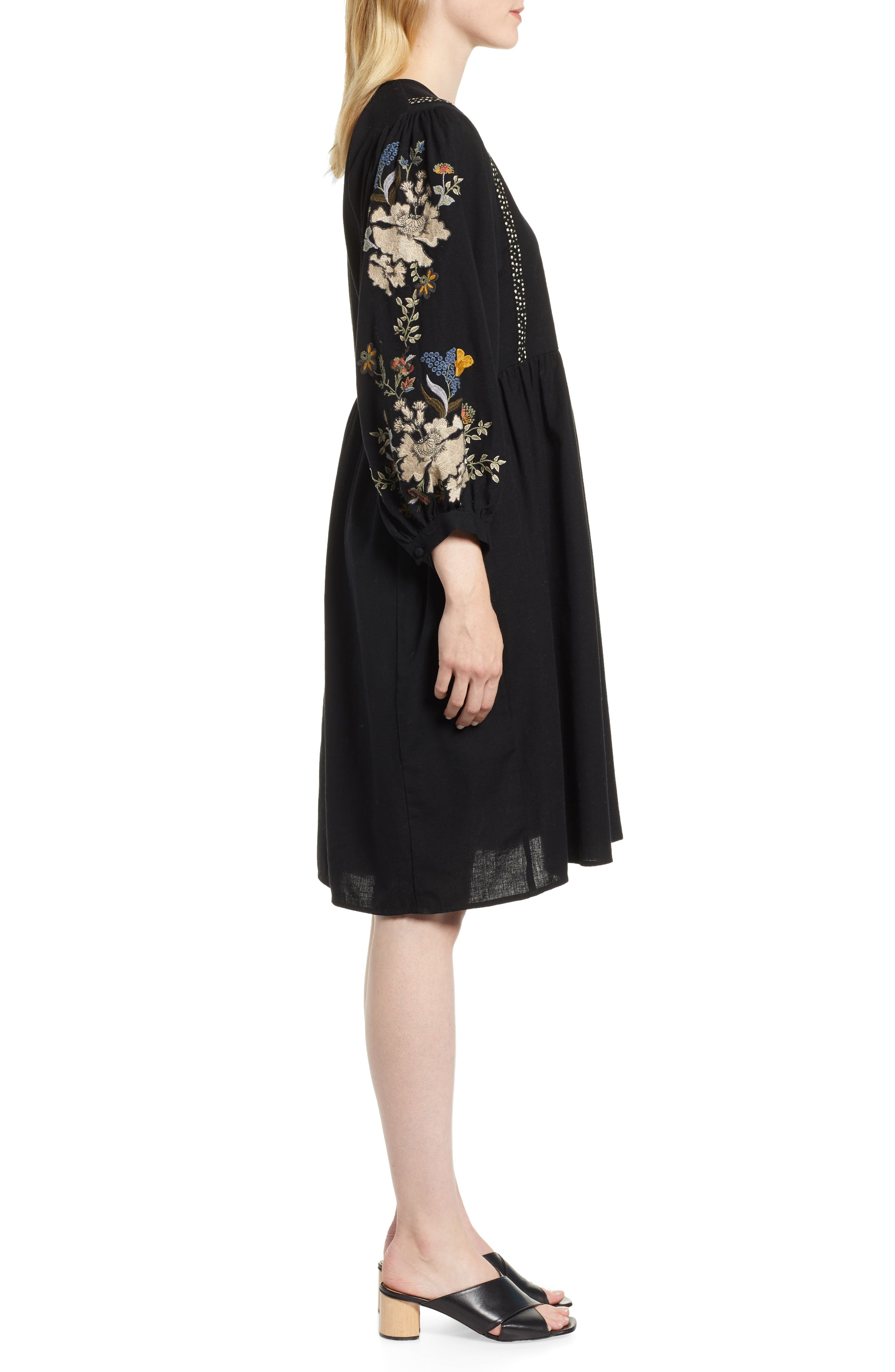 Embroidered Peasant Dress,                             Alternate thumbnail 3, color,                             BLACK