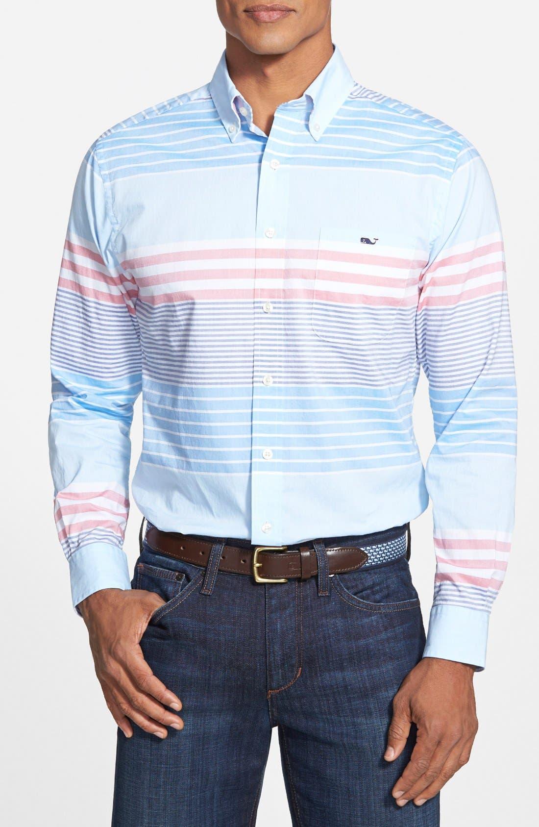 'Tucker - Oceaneer Stripe' Slim Fit Sport Shirt,                         Main,                         color, 456