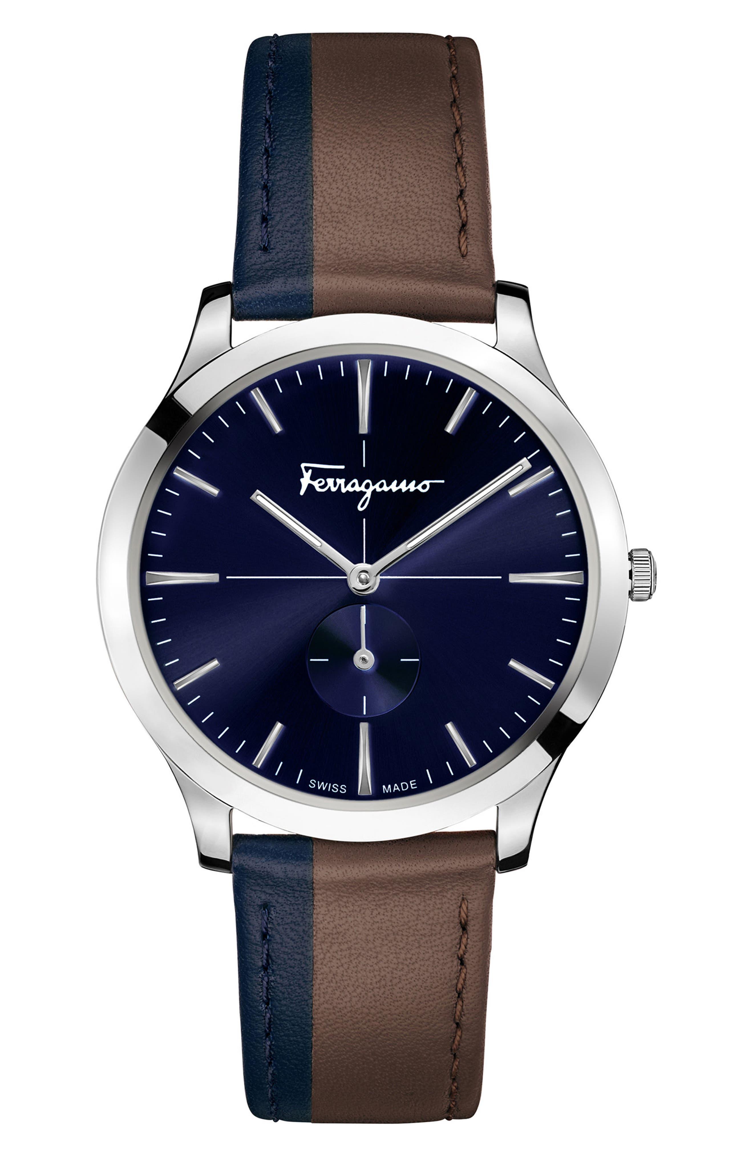 SALVATORE FERRAGAMO,                             Slim Formal Leather Strap Watch, 40mm,                             Main thumbnail 1, color,                             200