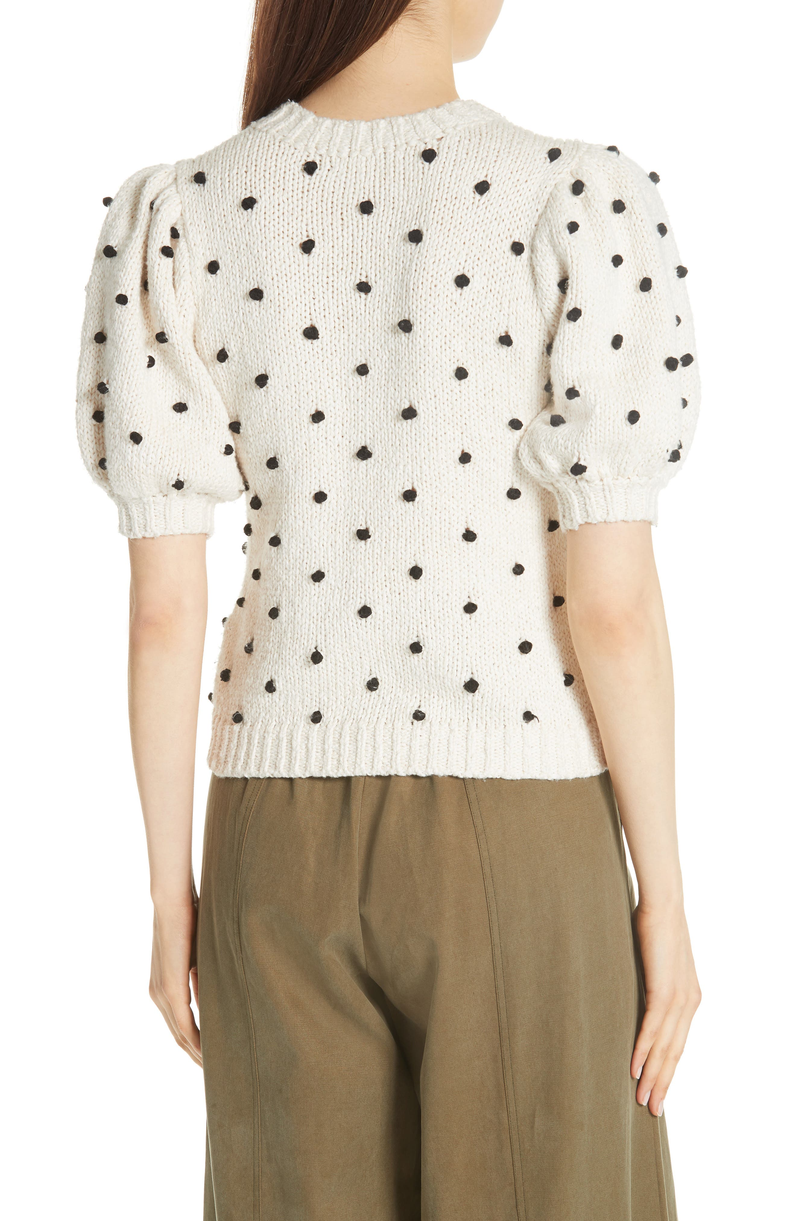 Bettine Puff Sleeve Polka Dot Sweater,                             Alternate thumbnail 2, color,