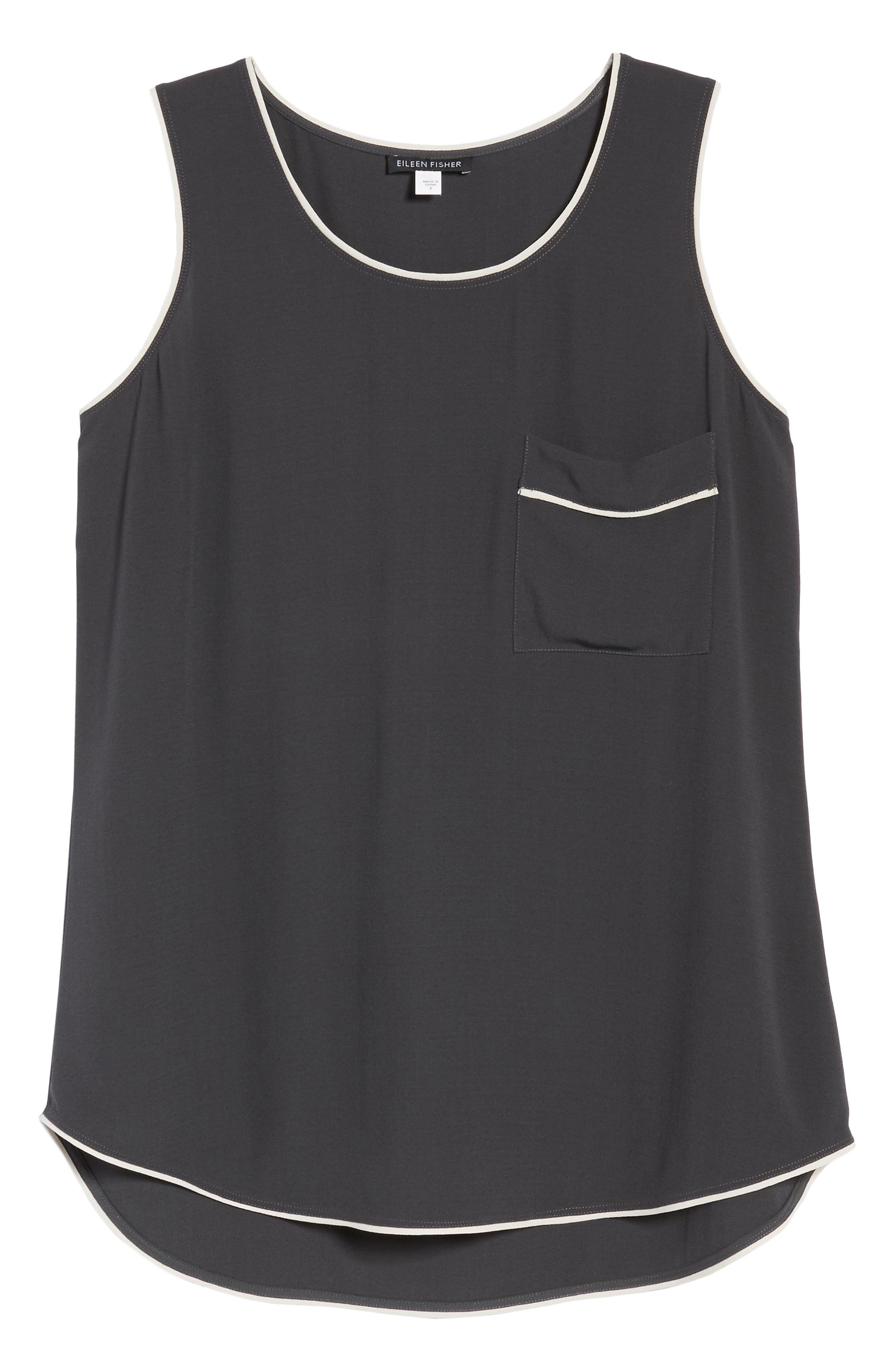 EILEEN FISHER,                             Piped Silk Tank,                             Alternate thumbnail 7, color,                             025