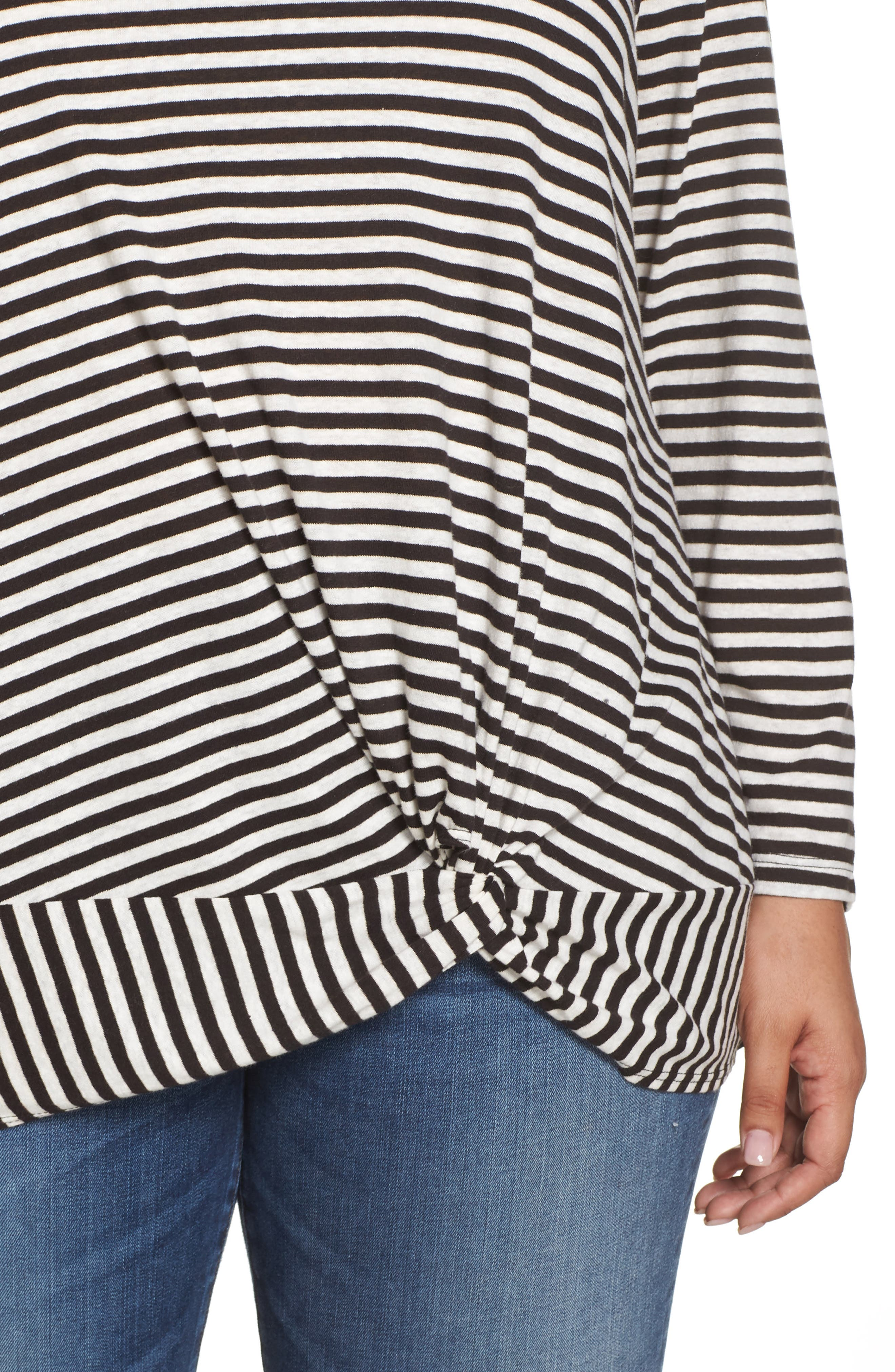 Knot Front Long Sleeve Tee,                             Alternate thumbnail 4, color,                             IVORY- BLACK EVEN STRIPE
