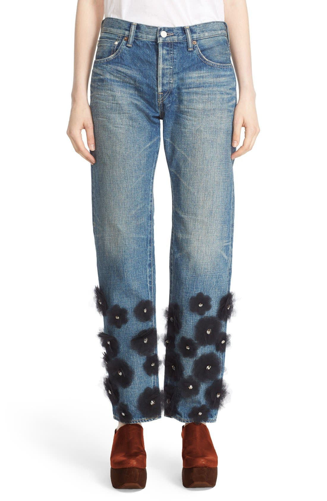 Tulle Flower Embellished Jeans,                             Main thumbnail 1, color,                             001