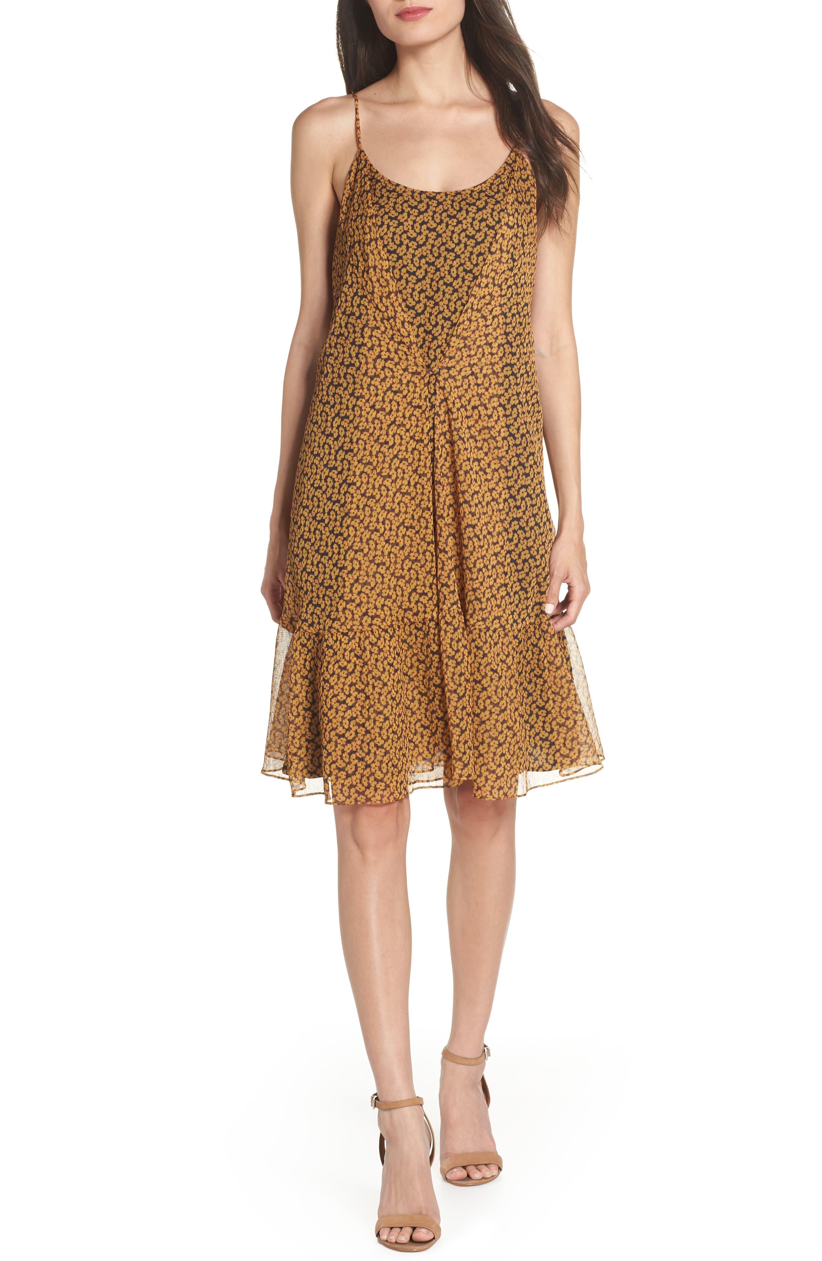 Floral Chiffon Tank Dress,                             Main thumbnail 1, color,                             MARIGOLD