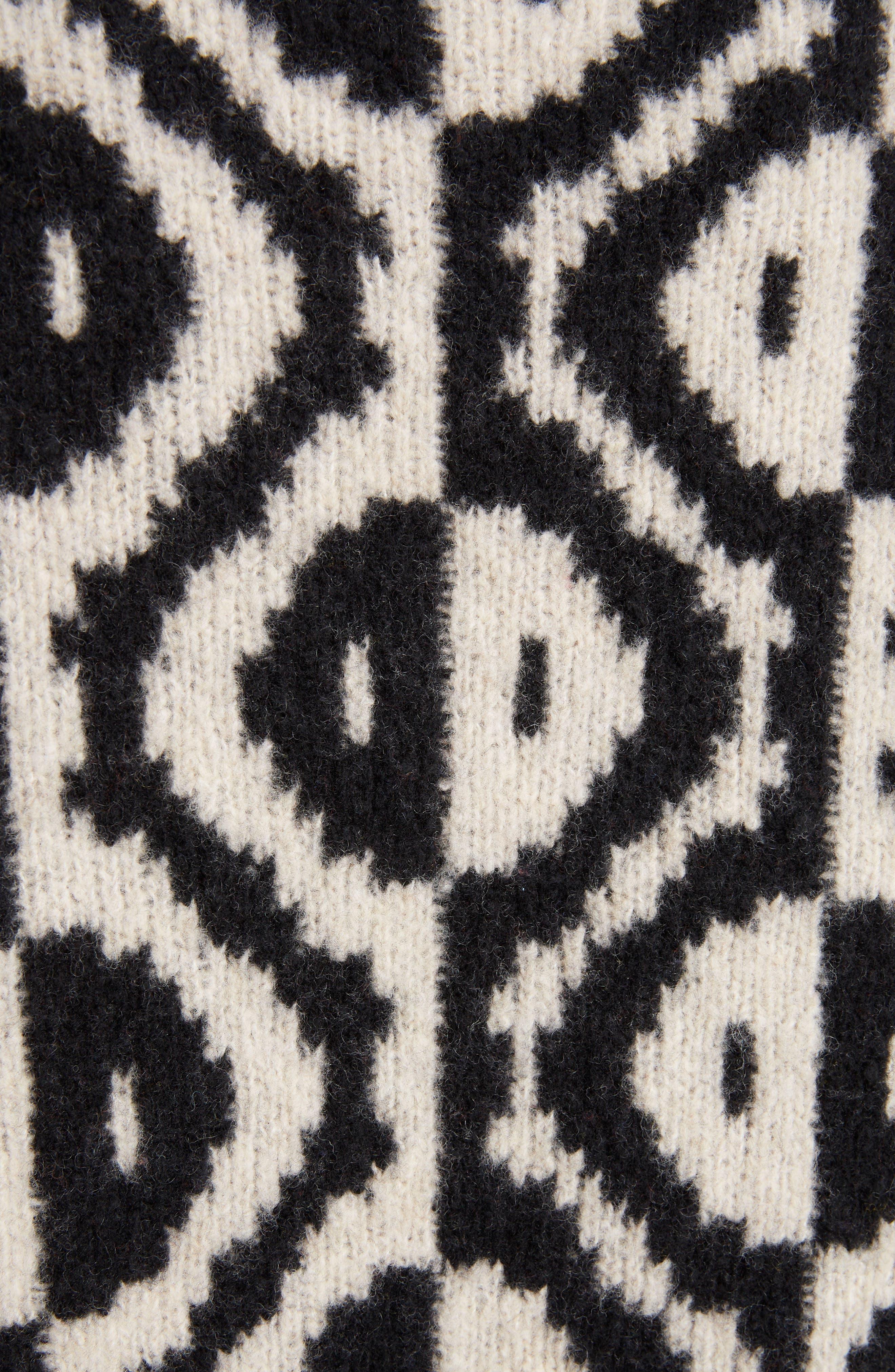 Geo Jacquard Merino Wool Blend Sweater,                             Alternate thumbnail 5, color,                             001
