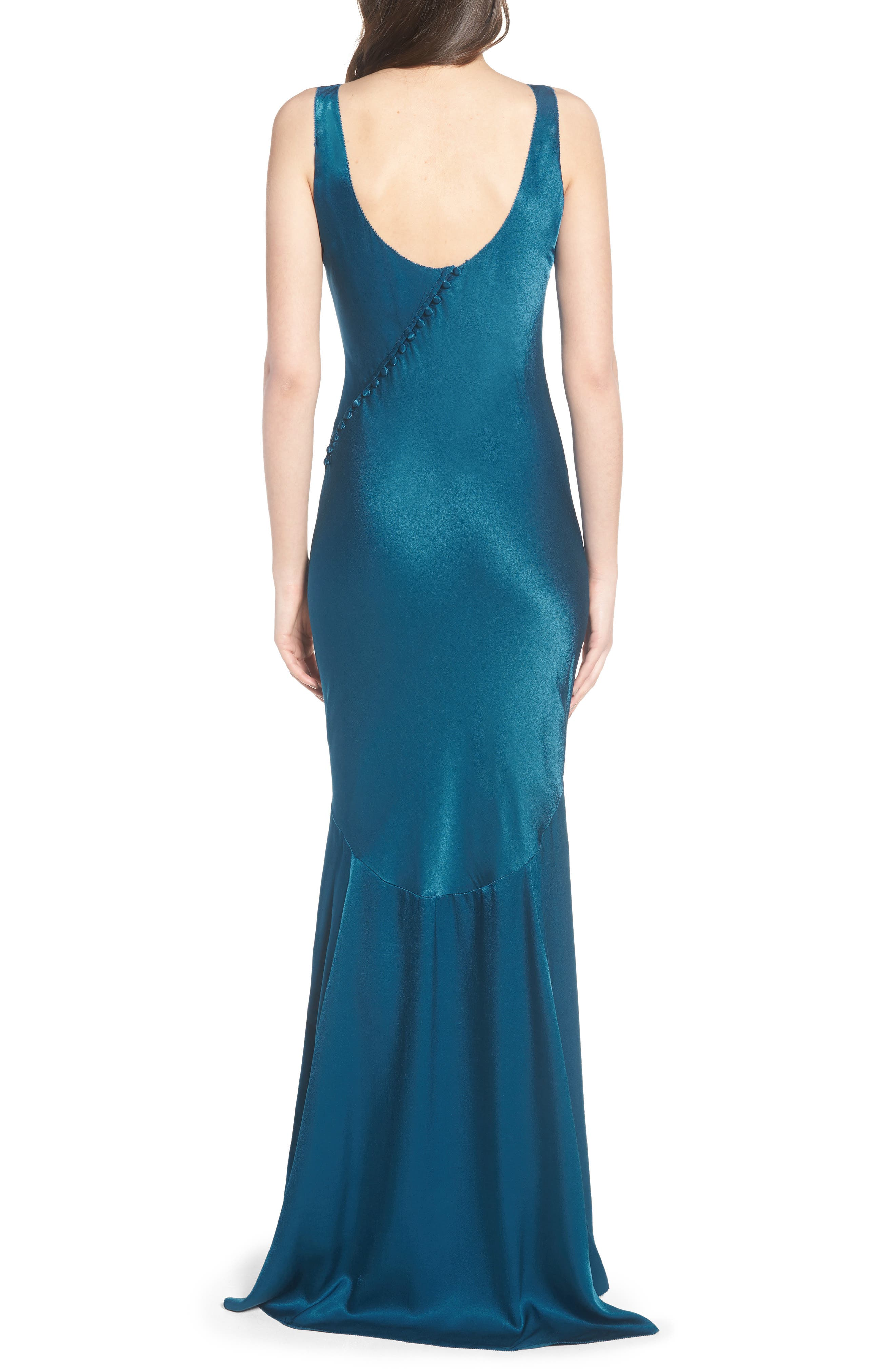 Satin Fishtail Gown,                             Alternate thumbnail 4, color,