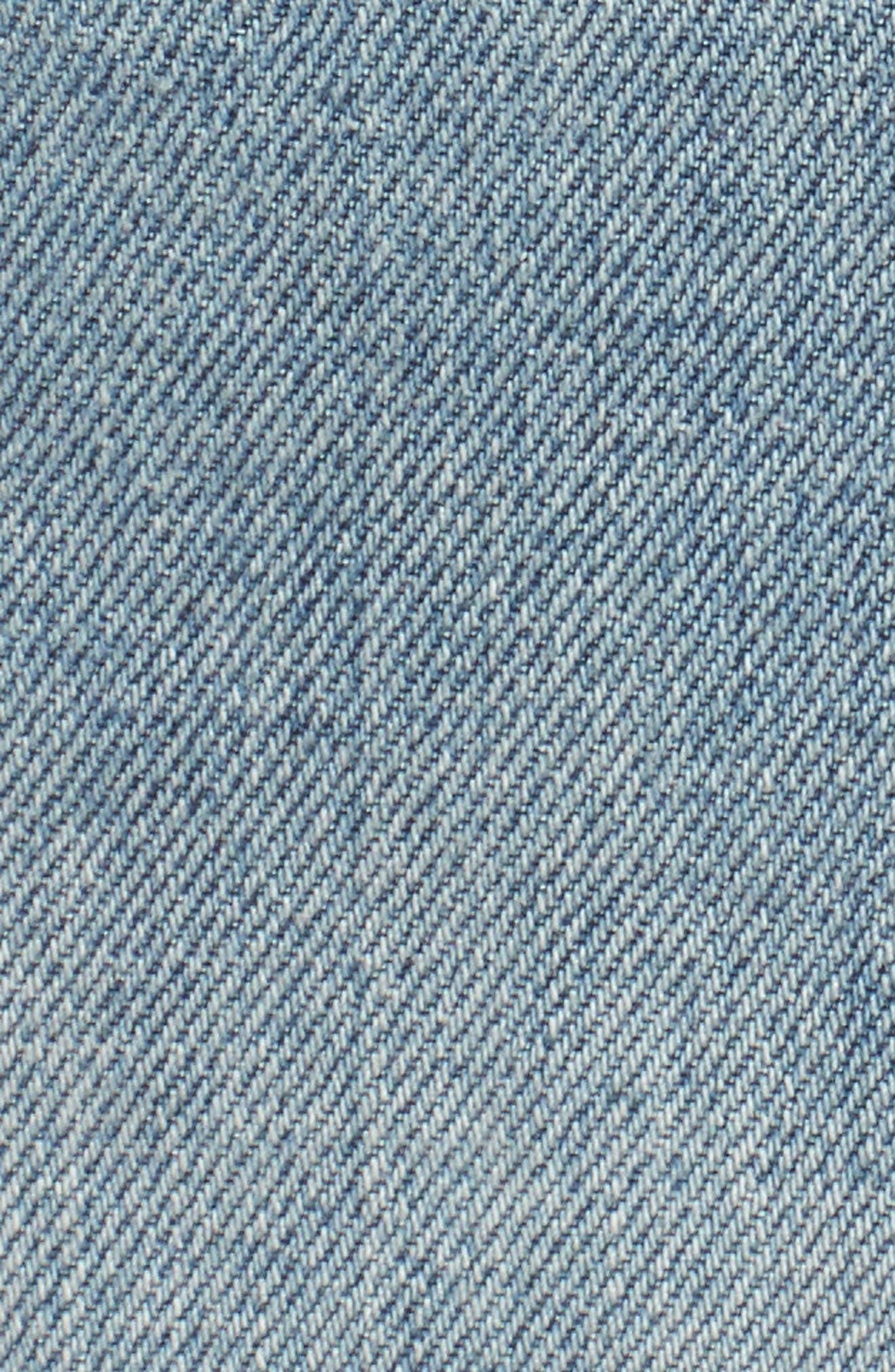 Wynonna Studded Cutoff Denim Miniskirt,                             Alternate thumbnail 6, color,                             MED VINTAGE ALL OVER STUDDED